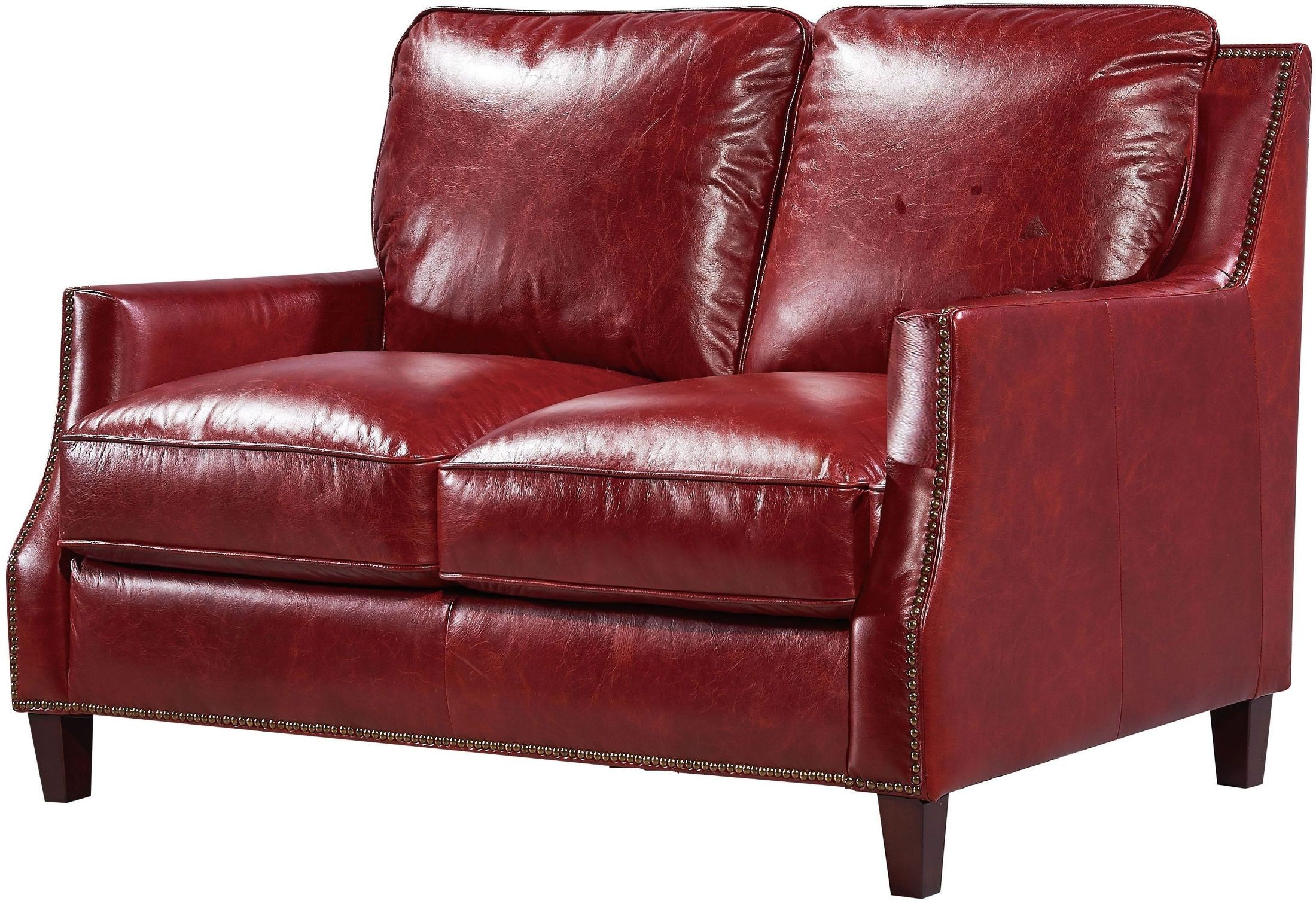 Georgetowne Oakridge Red Leather Loveseat From Luxe Leather Coleman Furniture