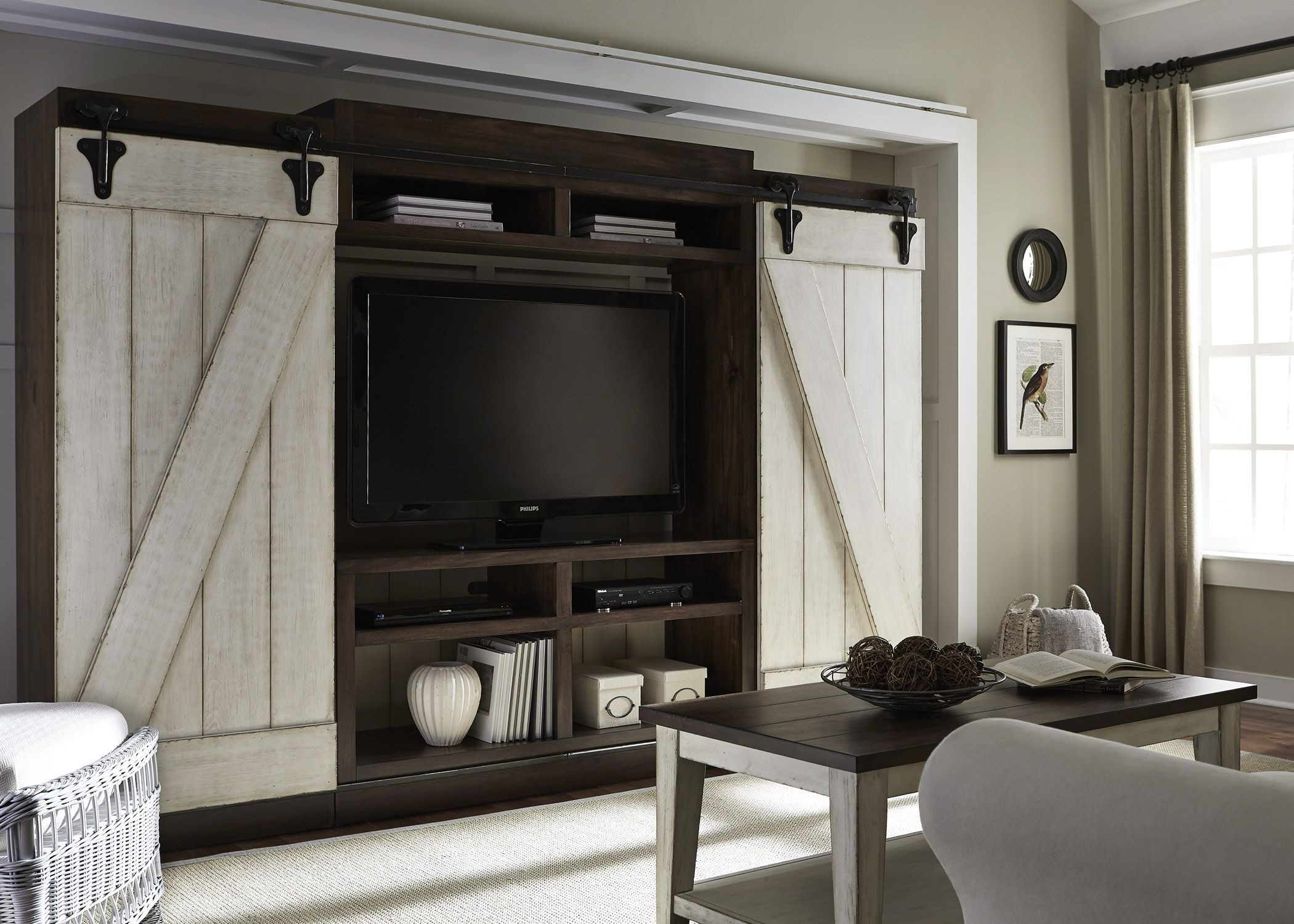 Lancaster Antique White and Brown Entertainment Wall Unit ...