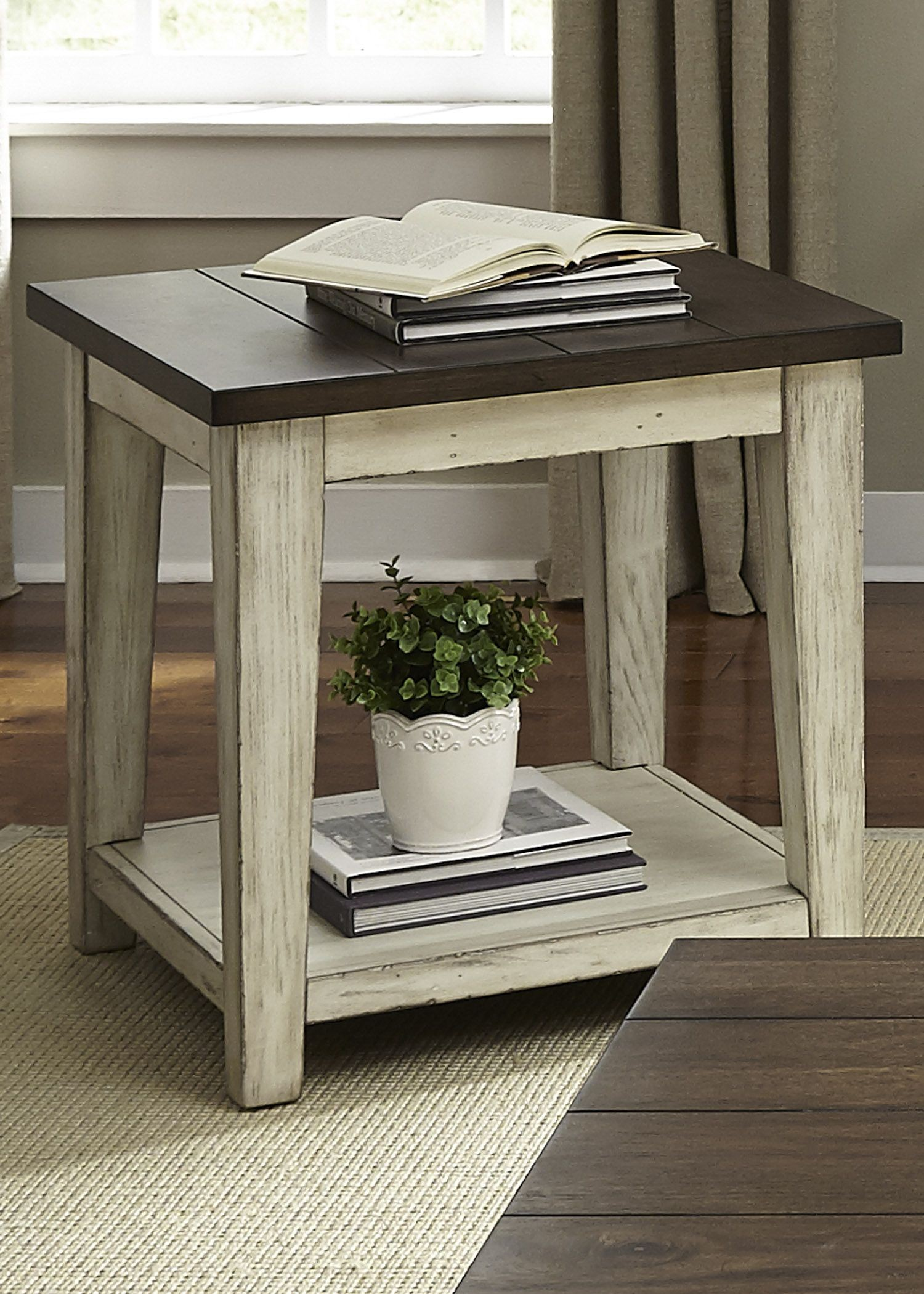 Lancaster Antique White And Brown End Table From Liberty