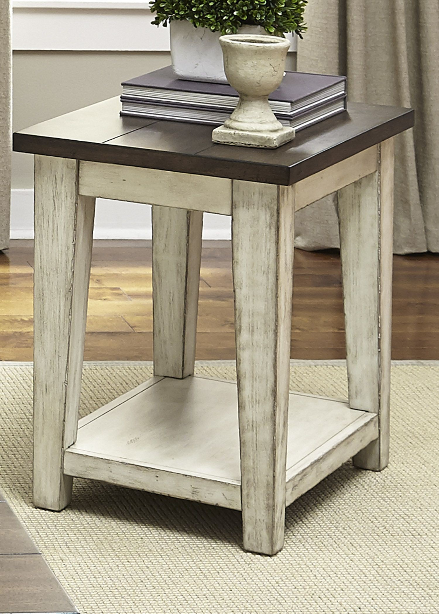 Lancaster antique white and brown chair side table from for White side table