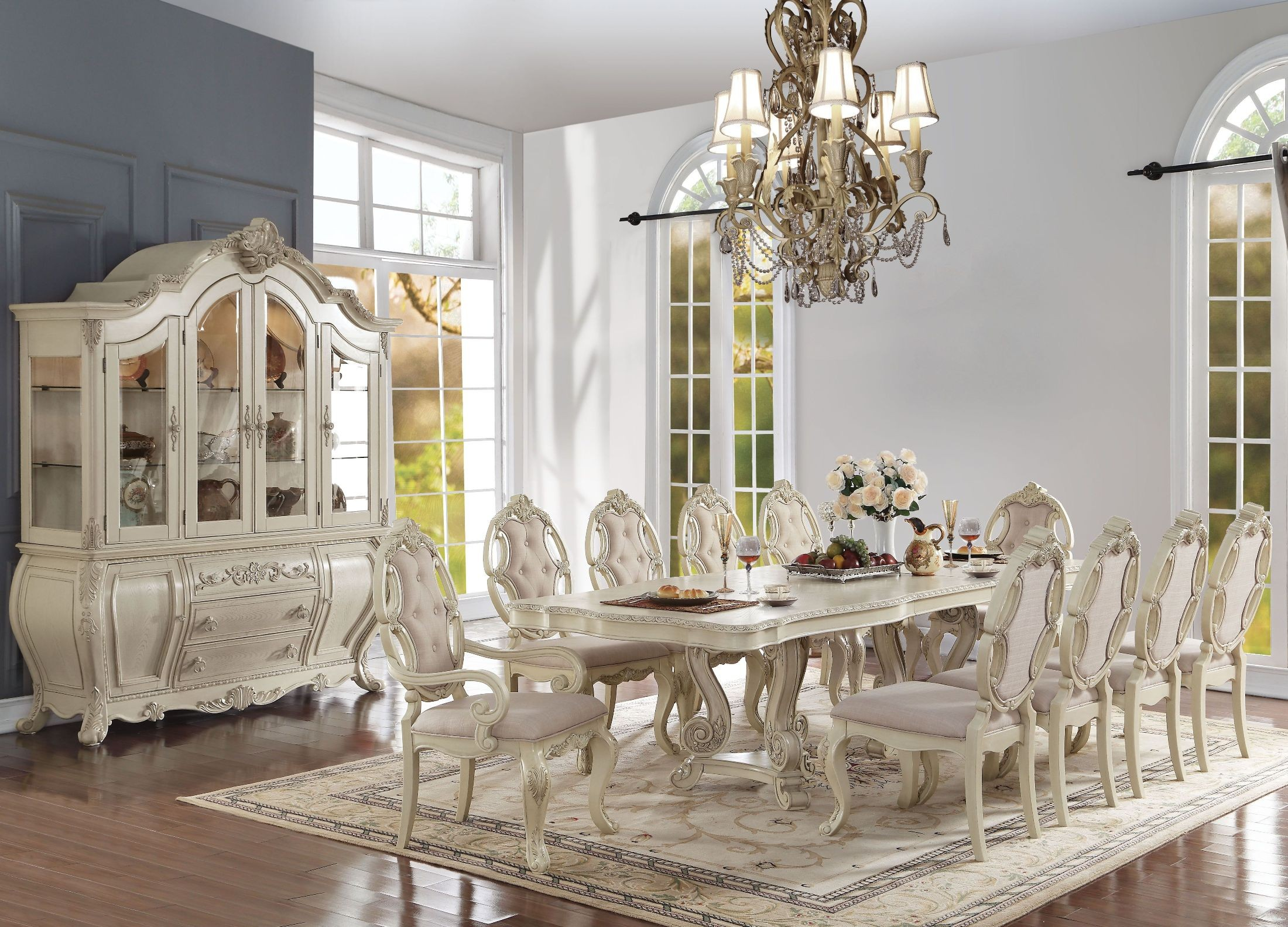 Ragenardus Antique White Double Pedestal Dining Room Set from Acme ...