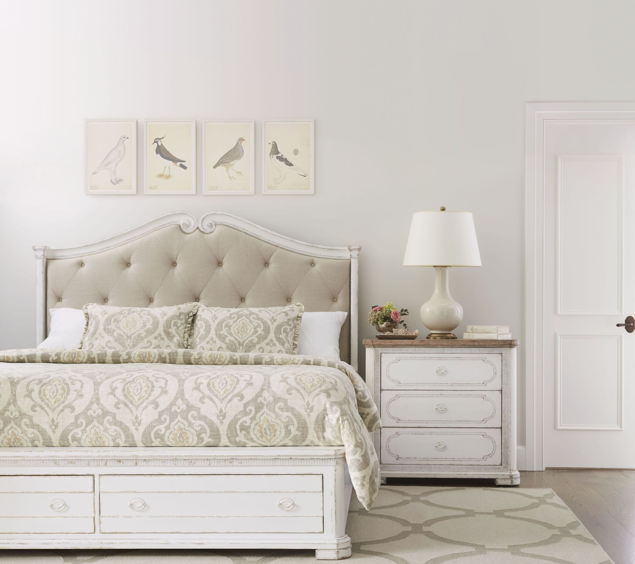 Juniper dell 17th century white king upholstered panel storage bed from stanley coleman furniture
