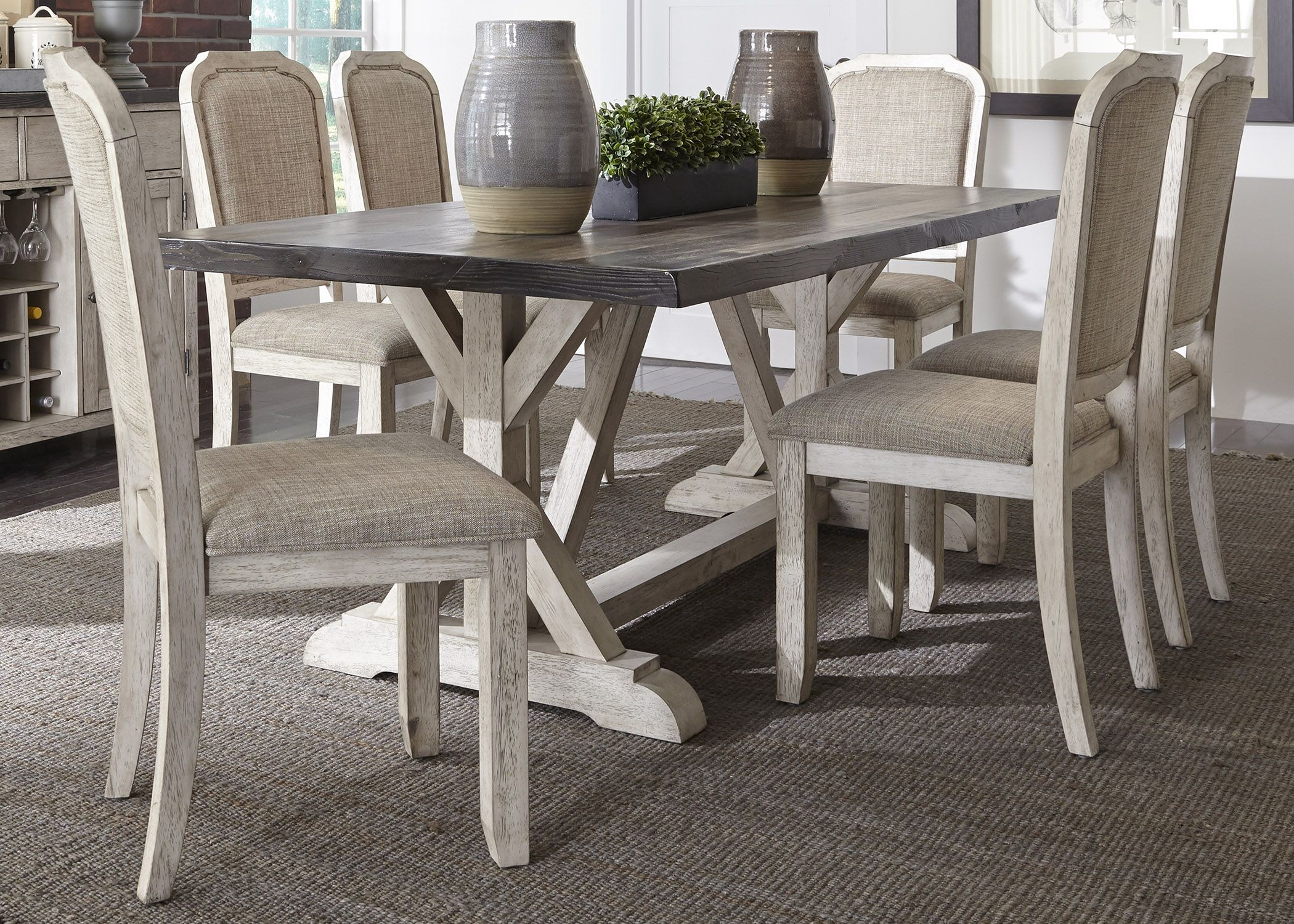 Dining Tables Rustic: Willowrun Rustic White Trestle Dining Table, 619-T3878