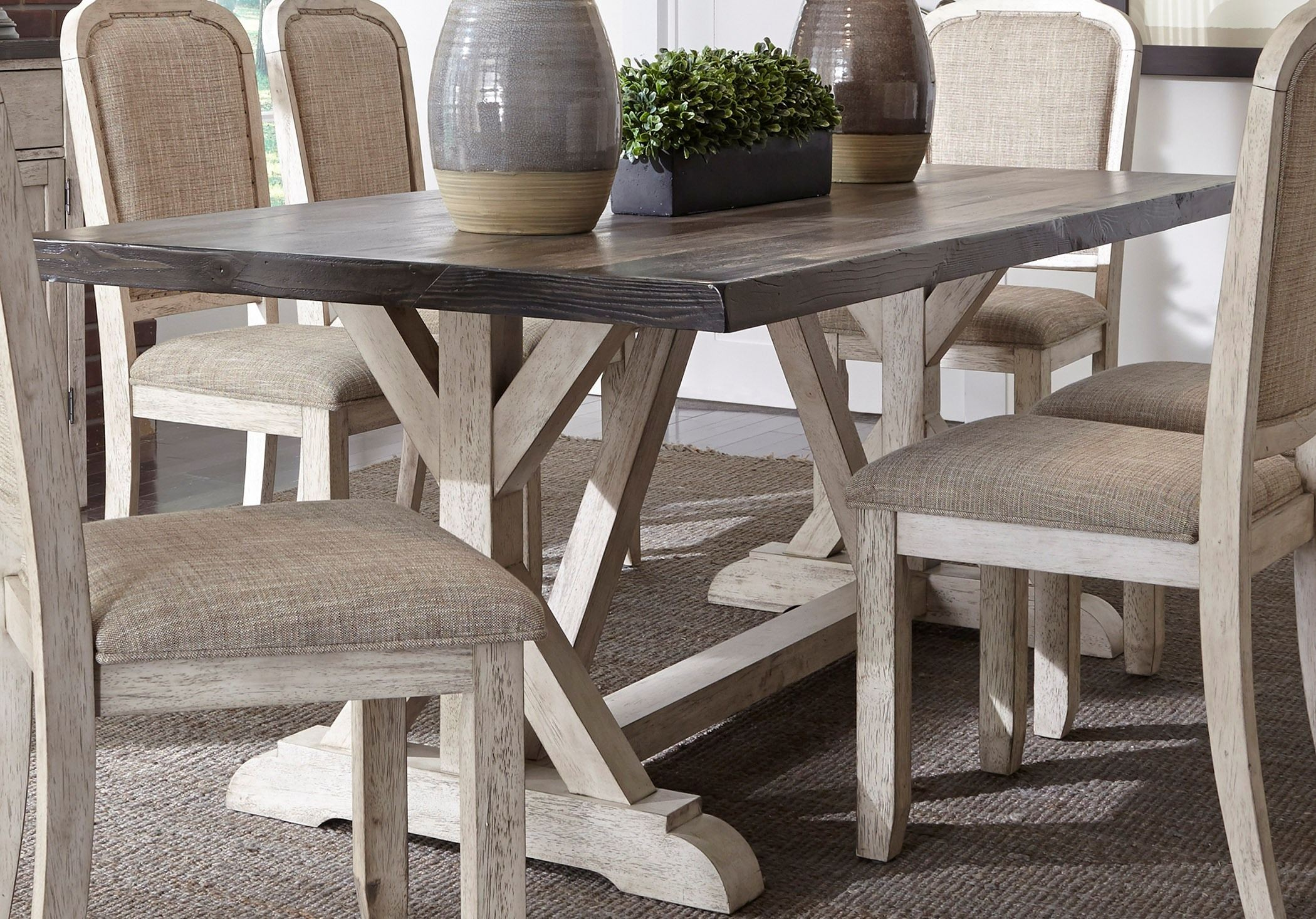 willowrun rustic white trestle dining table from liberty coleman furniture. Black Bedroom Furniture Sets. Home Design Ideas