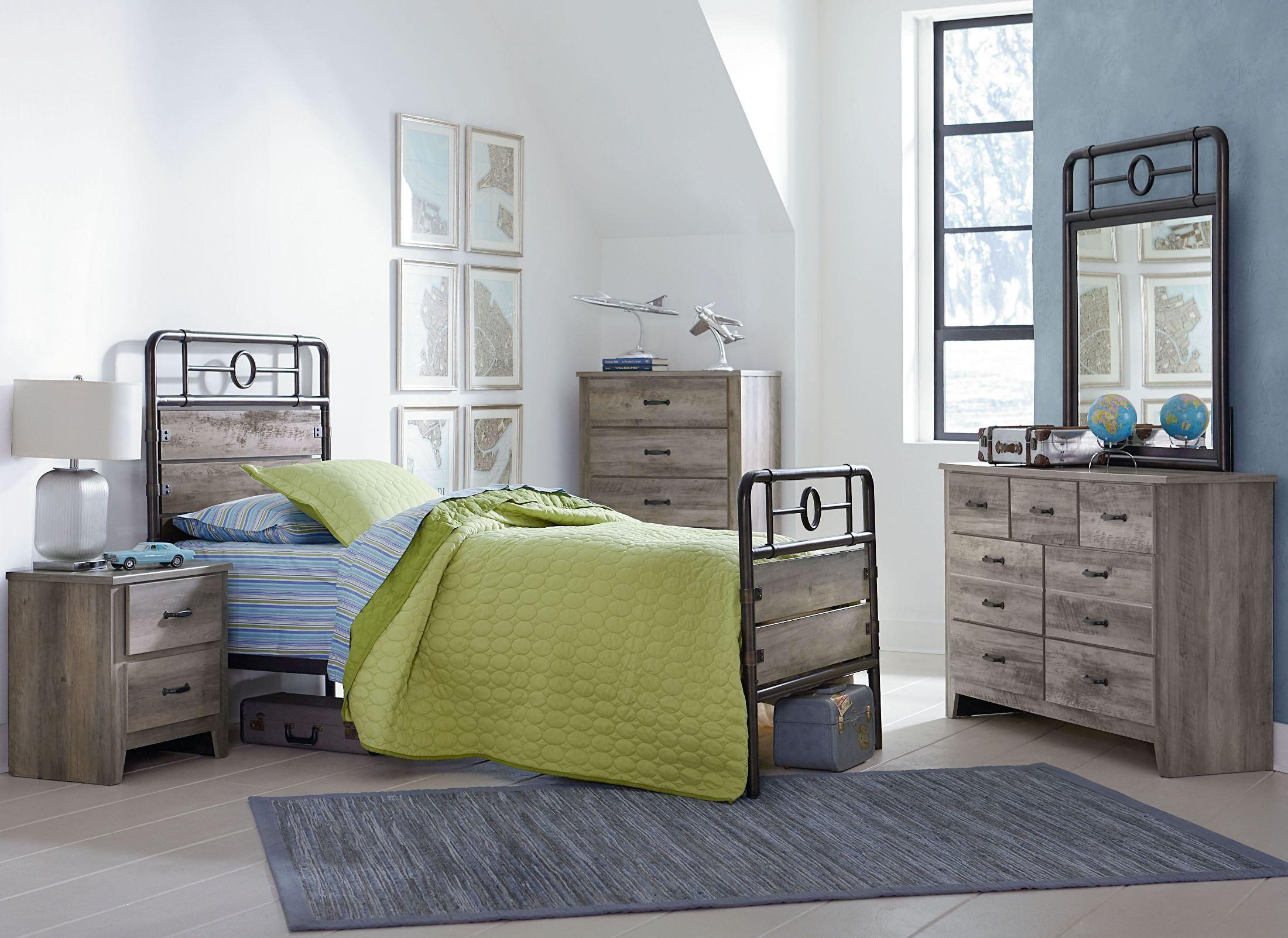 Barnett distressed pine youth metal bedroom set from standard furniture coleman furniture for Distressed pine bedroom furniture