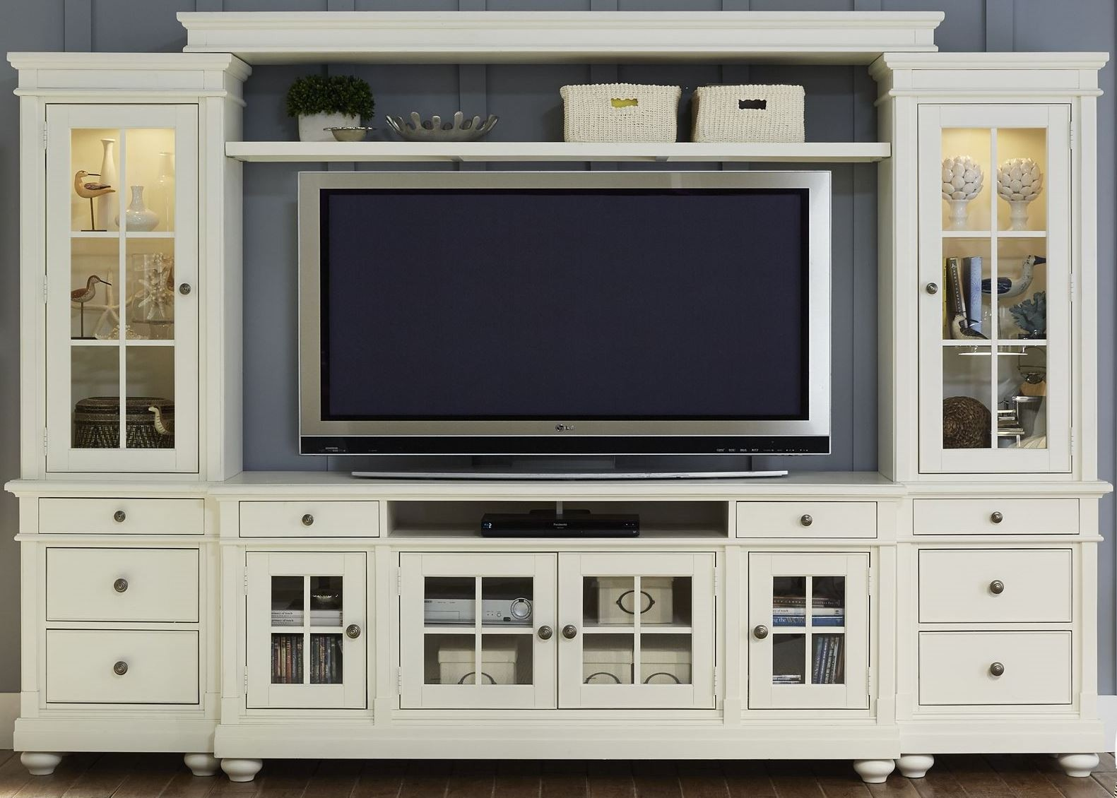 . harbor view linen entertainment wall unit with  tv console from