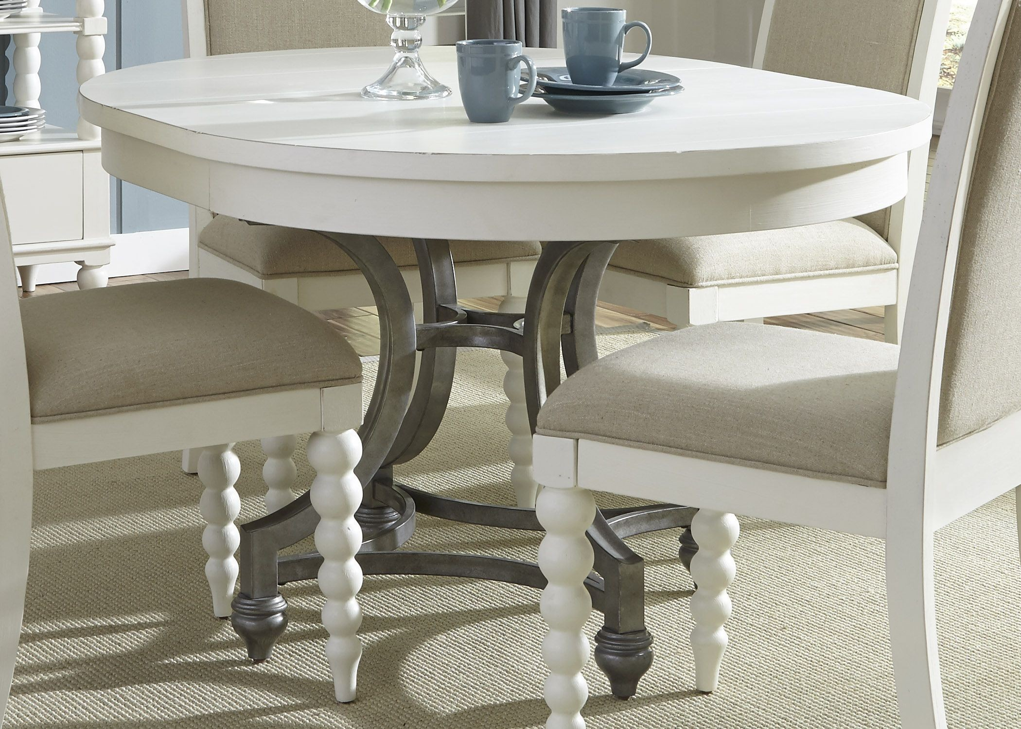 Harbor view ii extendable round dining table from liberty for Table design view