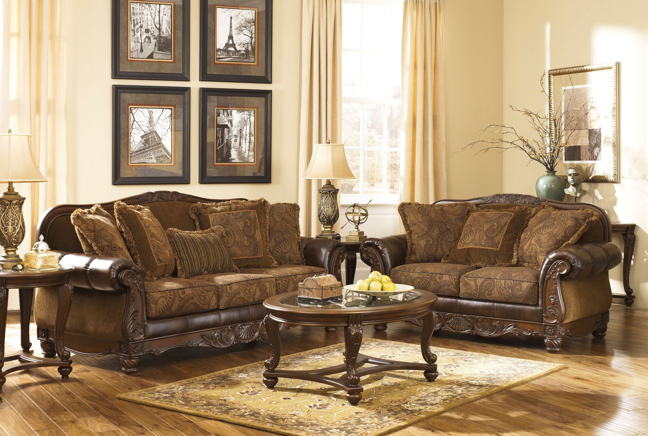 Fresco Durablend Antique Living Room Set From Ashley 63100 Coleman Furniture