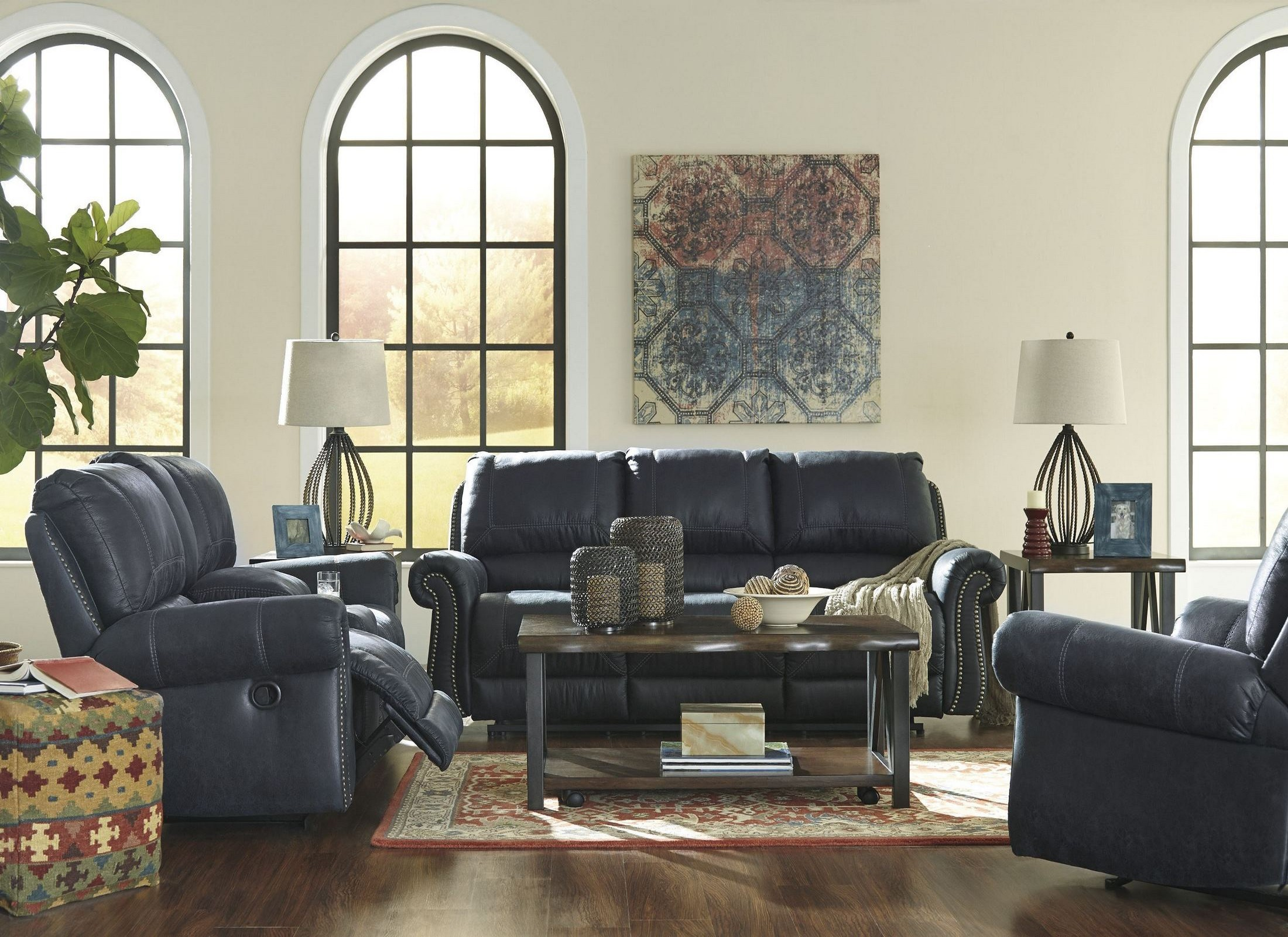 milhaven navy reclining living room set from ashley coleman furniture