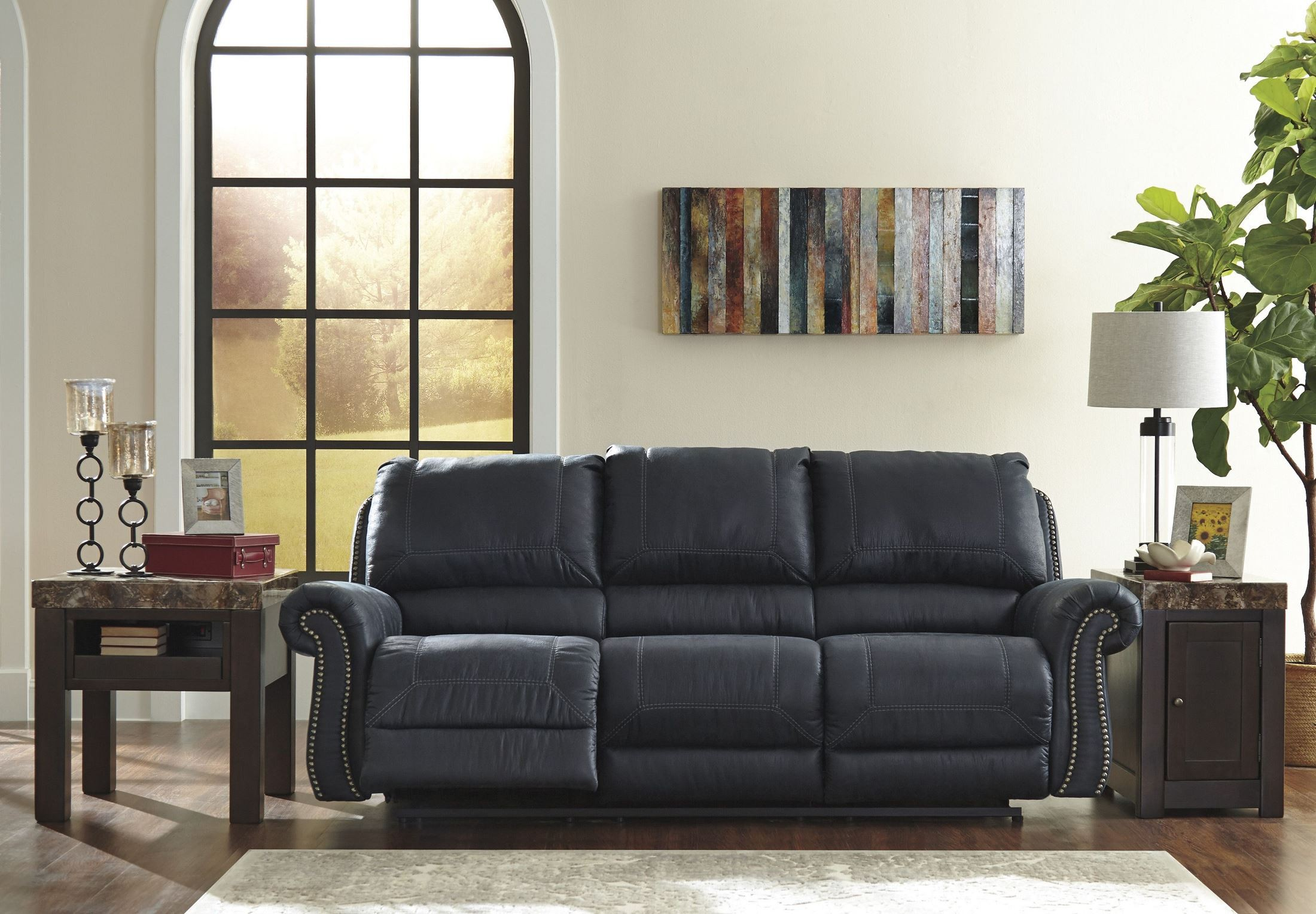 Milhaven Navy Reclining Sofa from Ashley