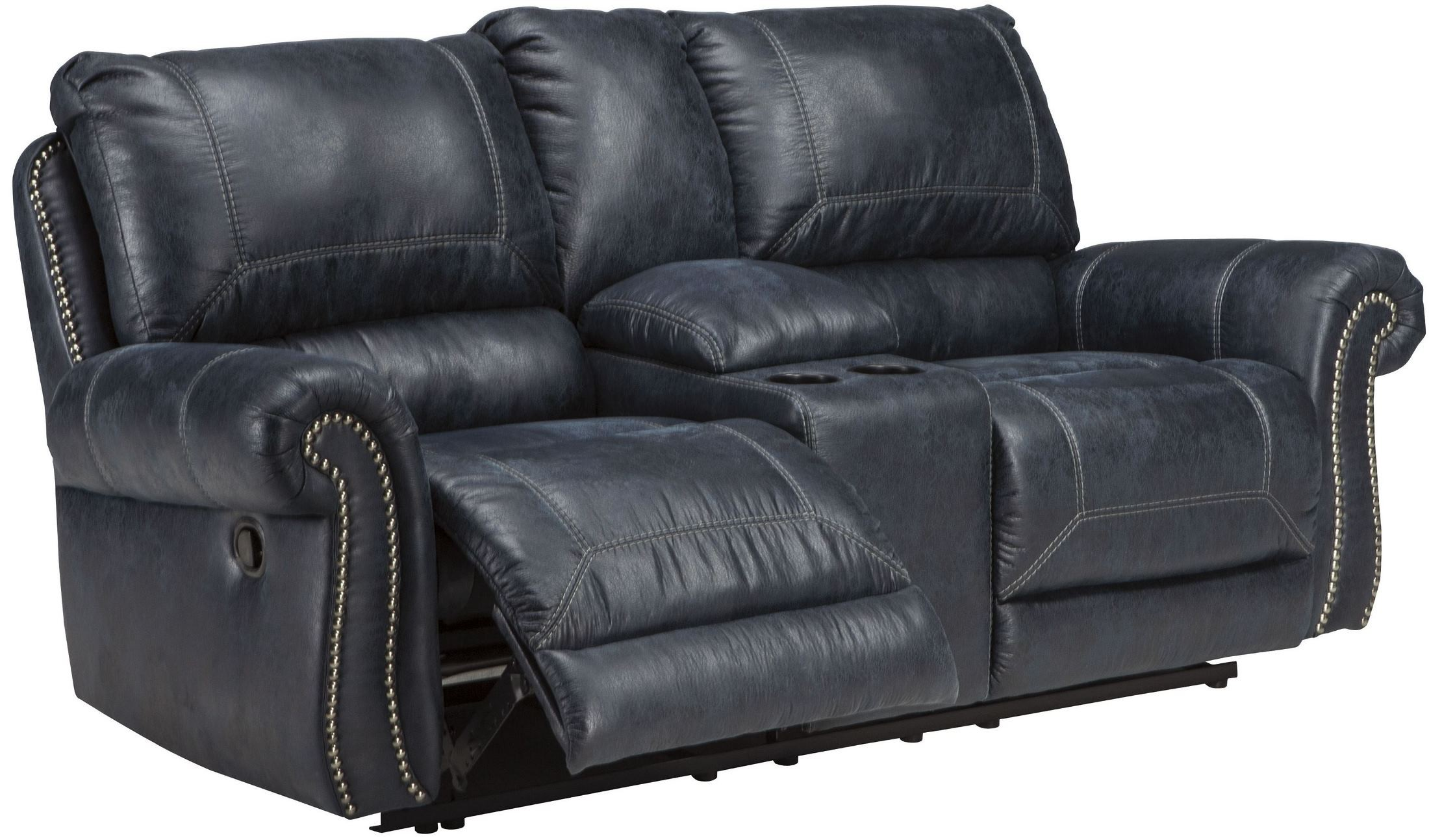 Milhaven Navy Double Reclining Console Loveseat From