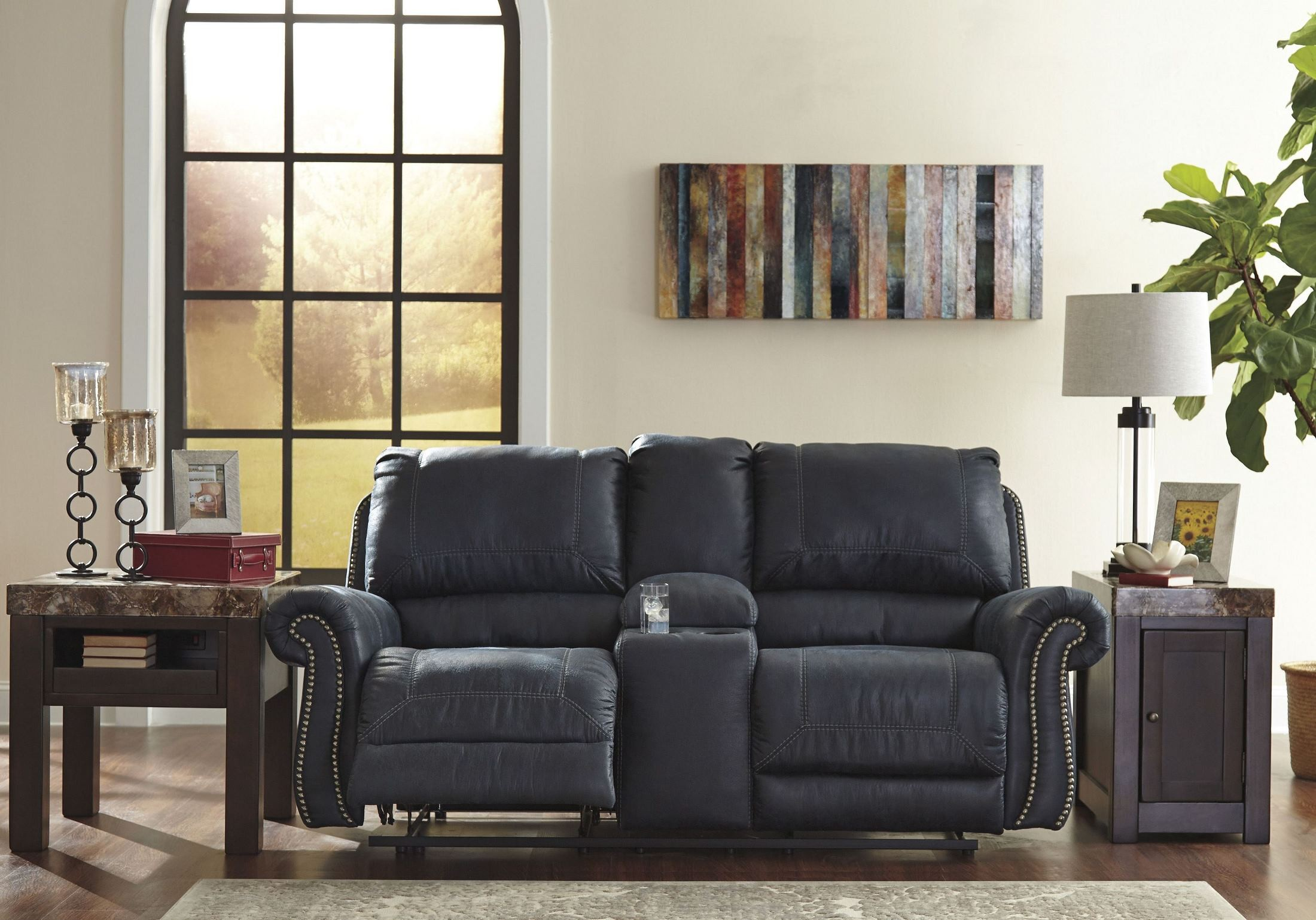 Milhaven Navy Double Power Reclining Console Loveseat From