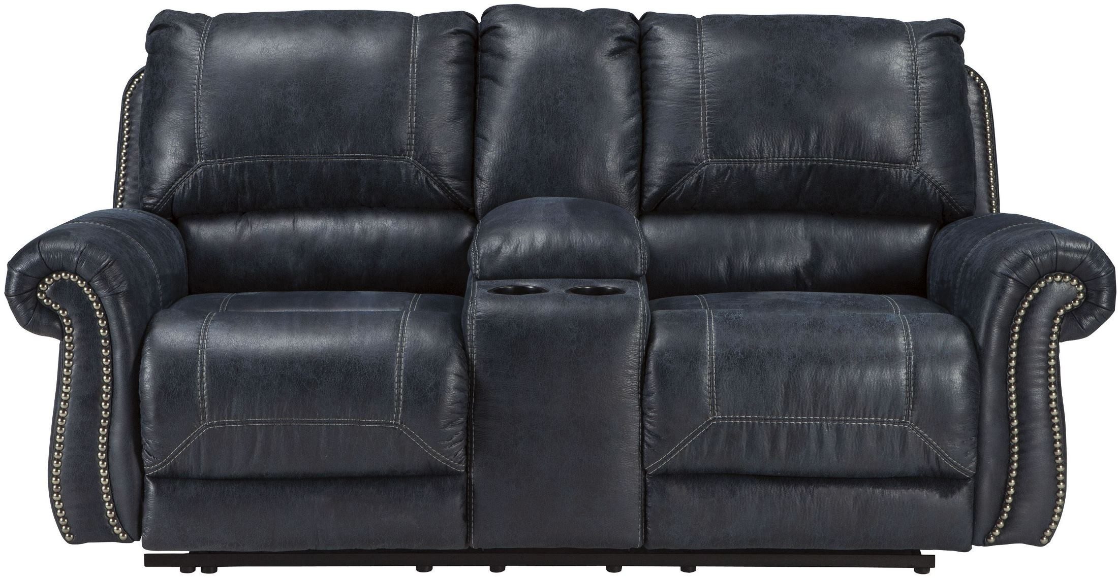 Milhaven Navy Double Power Reclining Console Loveseat From Ashley Coleman Furniture