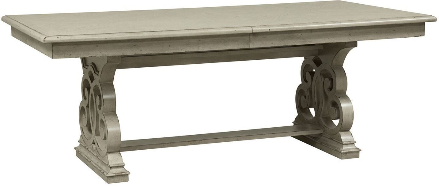 Grand Estates Gray Taupe Extendable Trestle Dining Table From Liberty |  Coleman Furniture