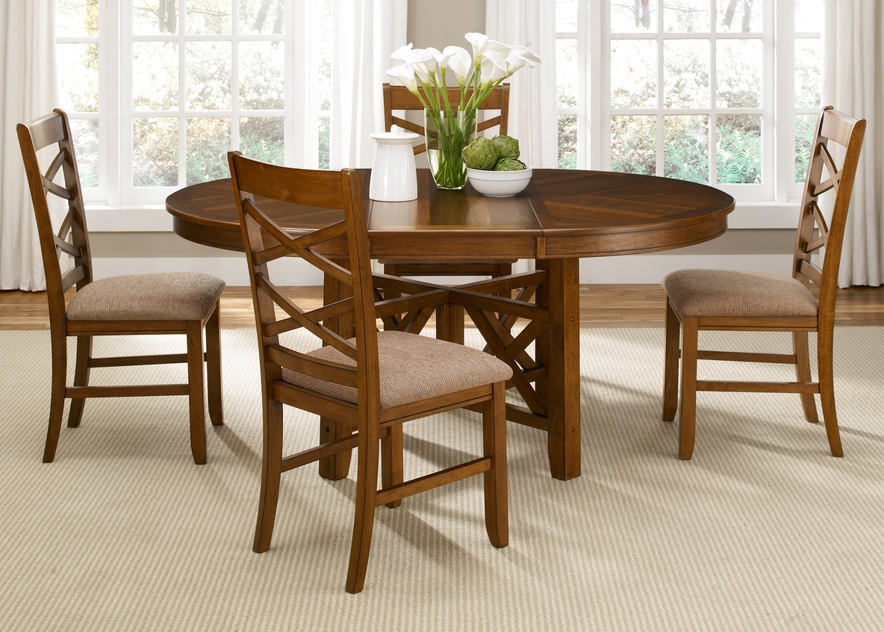 Bistro Oval Extendable Pedestal Dining Room Set From