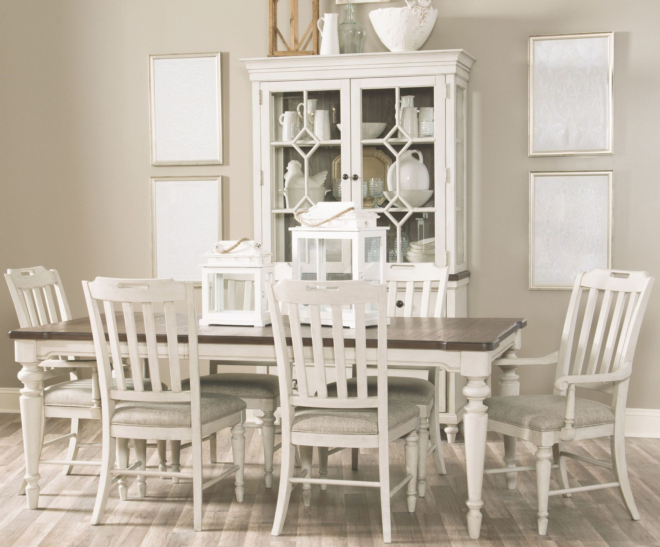 Brookhaven Vintage Linen And Rustic Dark Elm Extendable Leg Dining Room Set