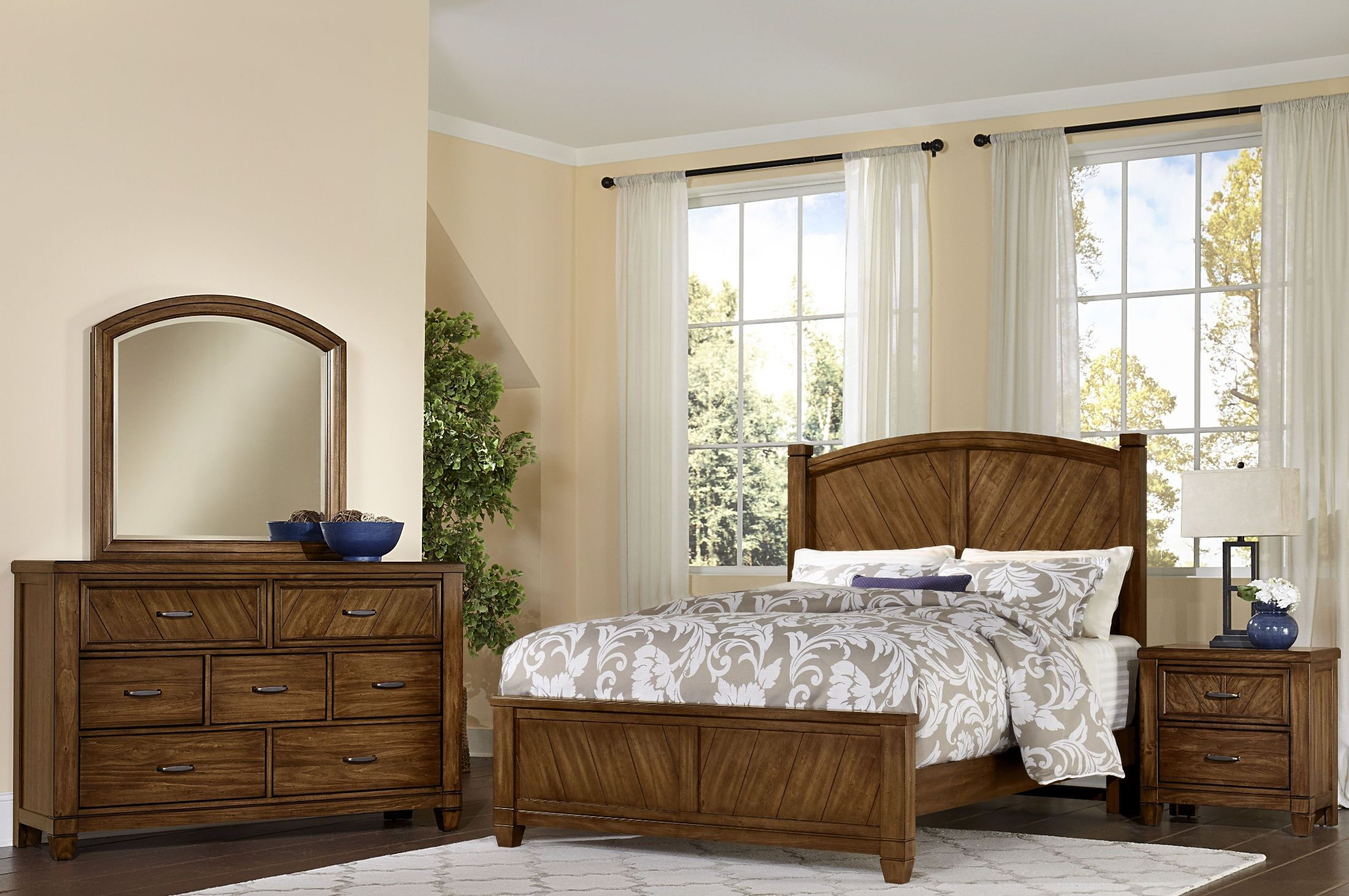 Rustic Cottage Rustic Cherry Panel Bedroom Set From Vaughn Bassett Coleman Furniture