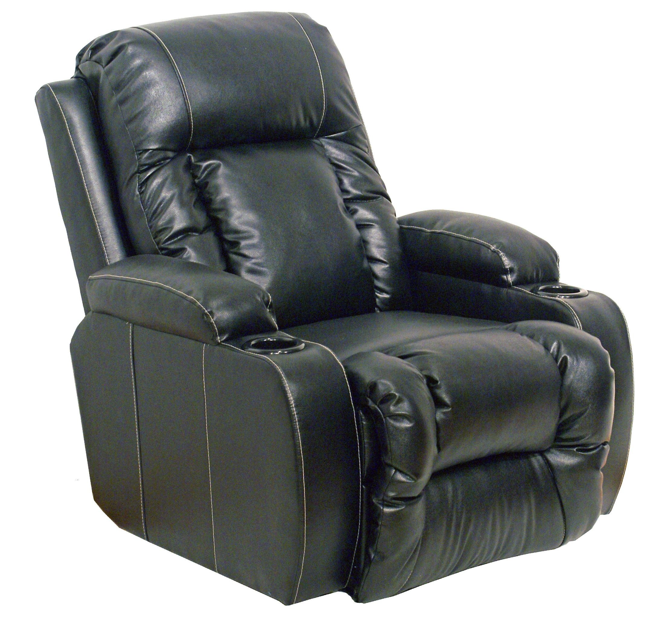 Top gun black leather inch away recliner from catnapper for Catnapper cloud nine chaise recliner