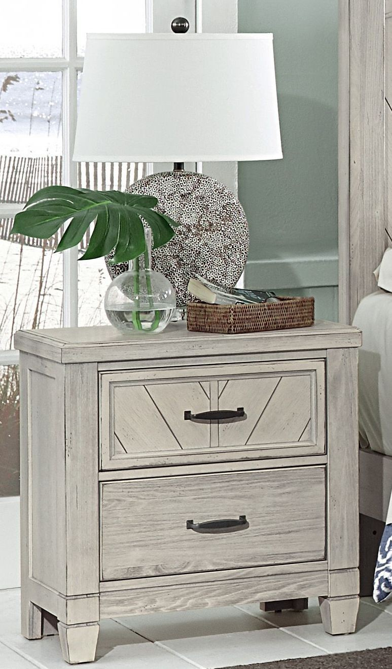Rustic Cottage Rustic White 2 Drawer Nightstand, 644-226