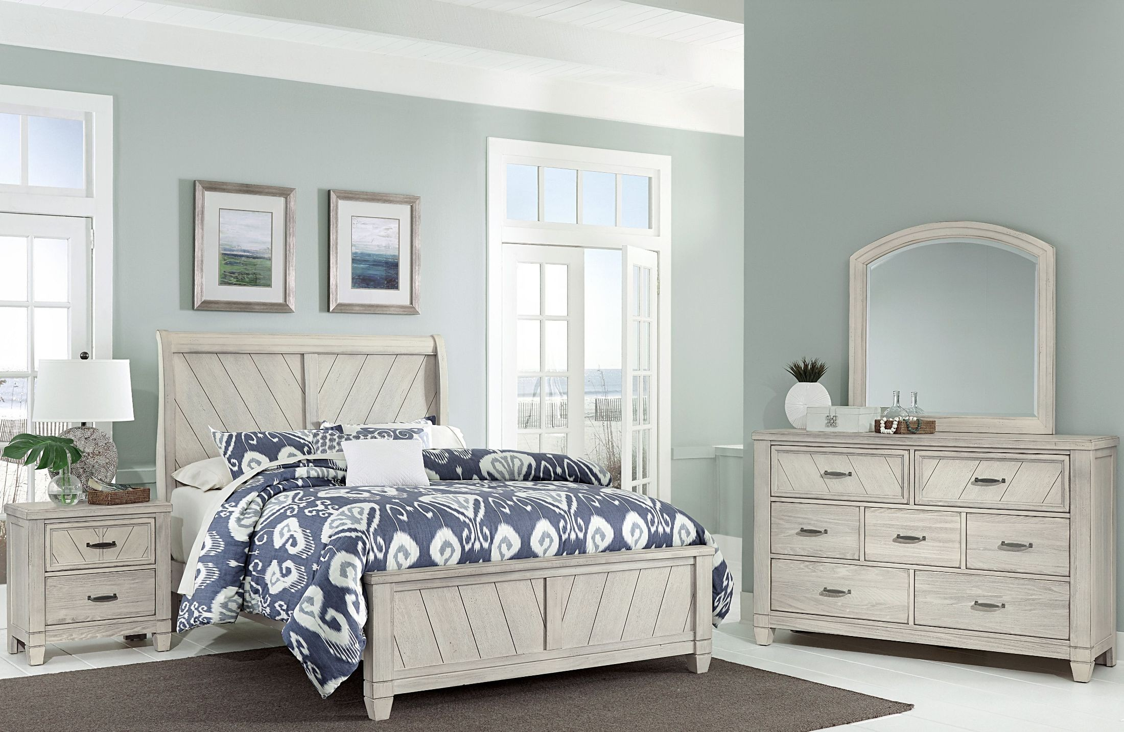 Rustic cottage rustic white sleigh bedroom set from virginia house coleman furniture for Bedroom furniture washington dc