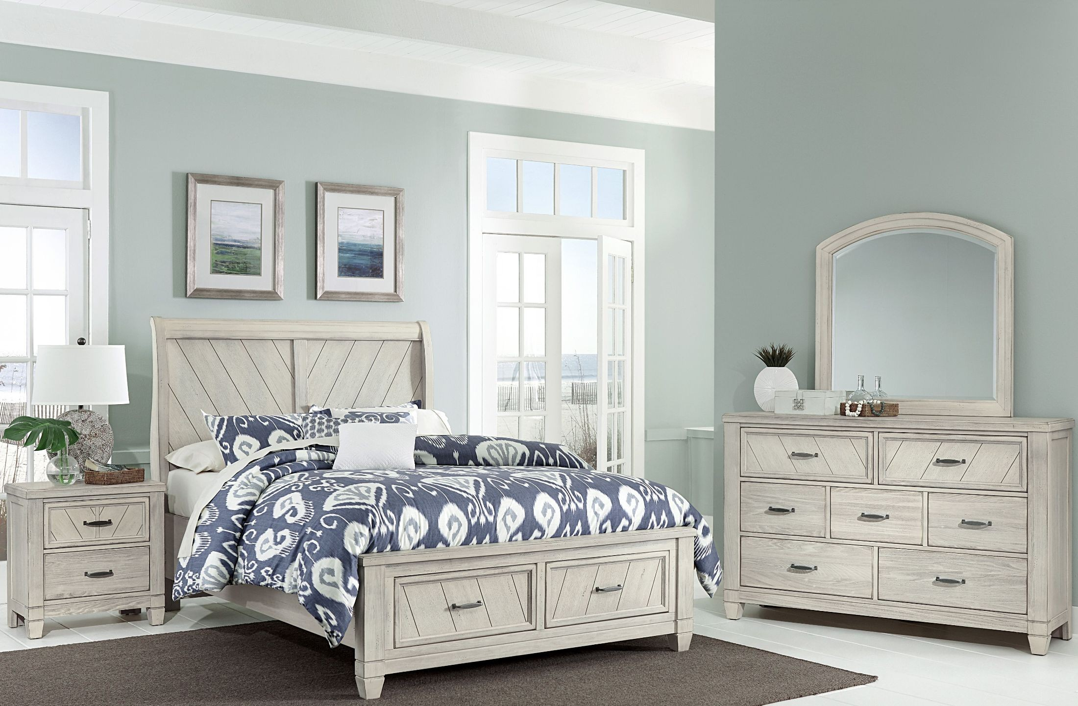 Rustic Cottage Rustic White Sleigh Storage Bedroom Set From Virginia House Coleman Furniture