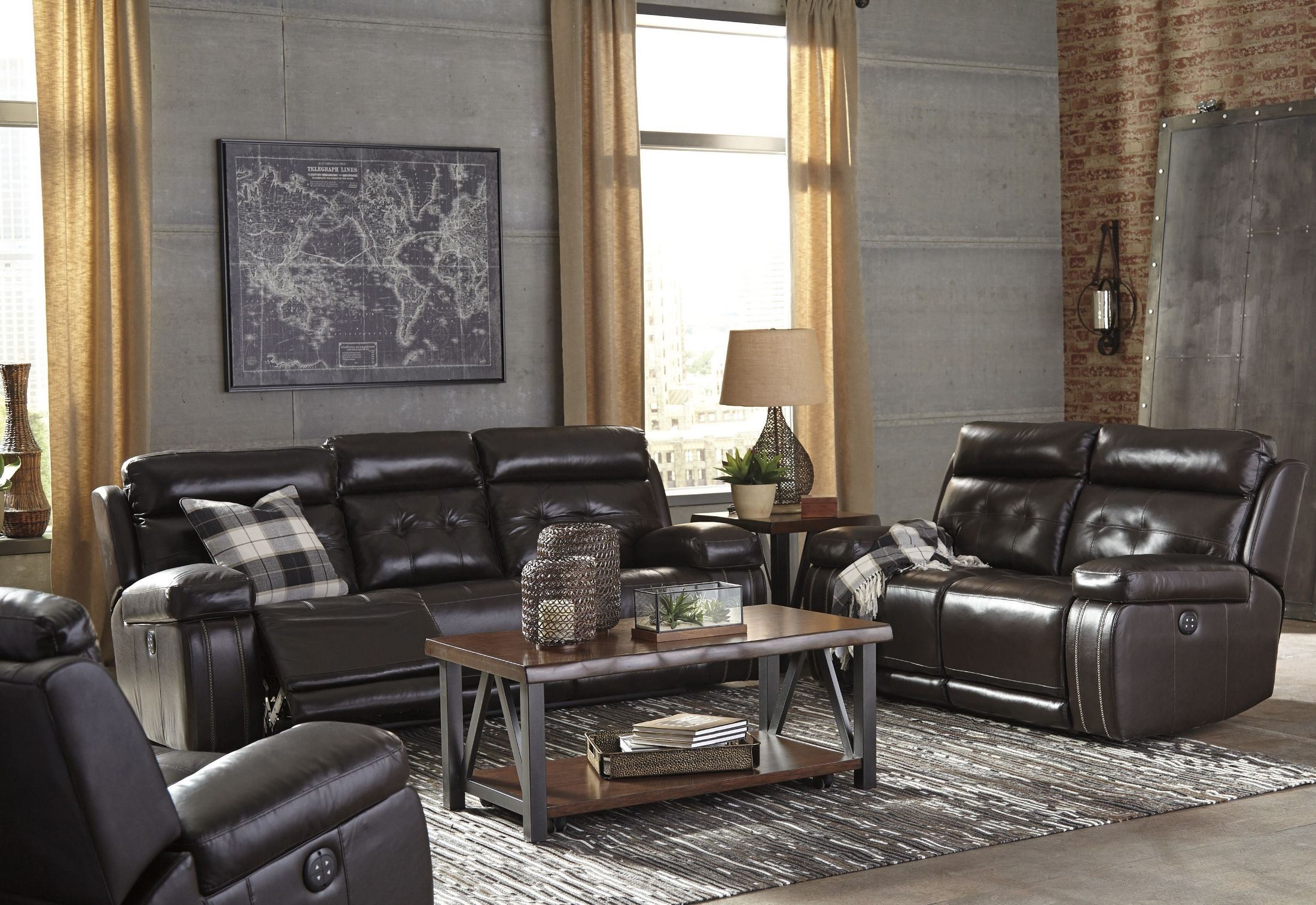 Graford Walnut Power Reclining With Adjustable Headrest Living Room Set From Ashley Coleman