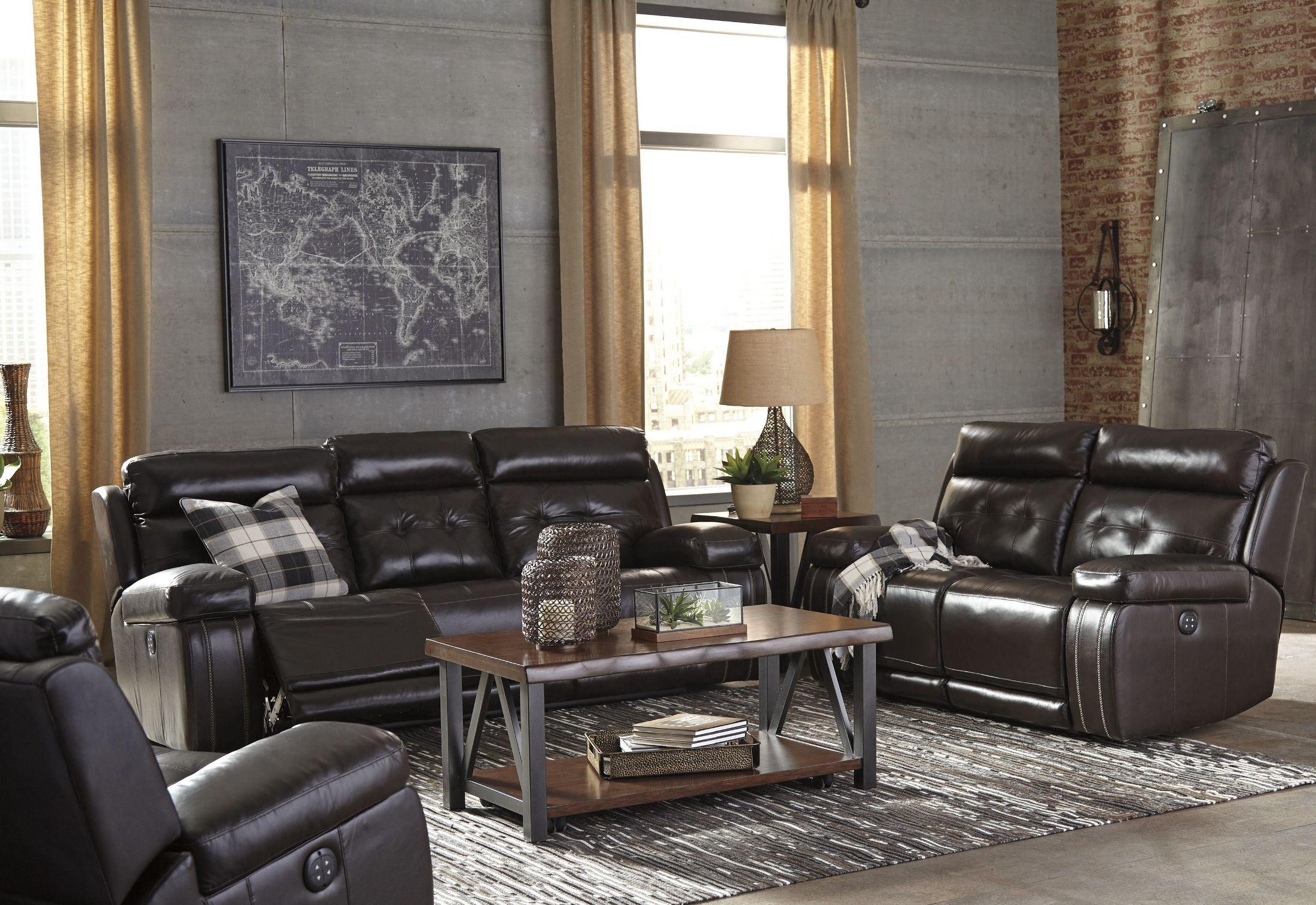 graford walnut power reclining with adjustable headrest. Black Bedroom Furniture Sets. Home Design Ideas