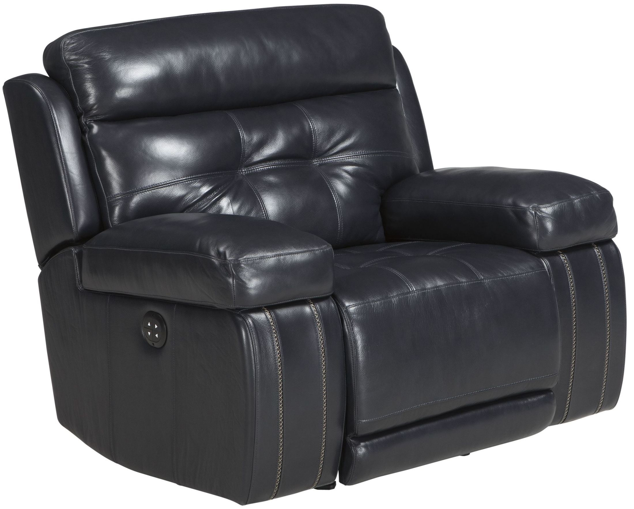 Graford Navy Power Recliner With Adjustable Headrest From