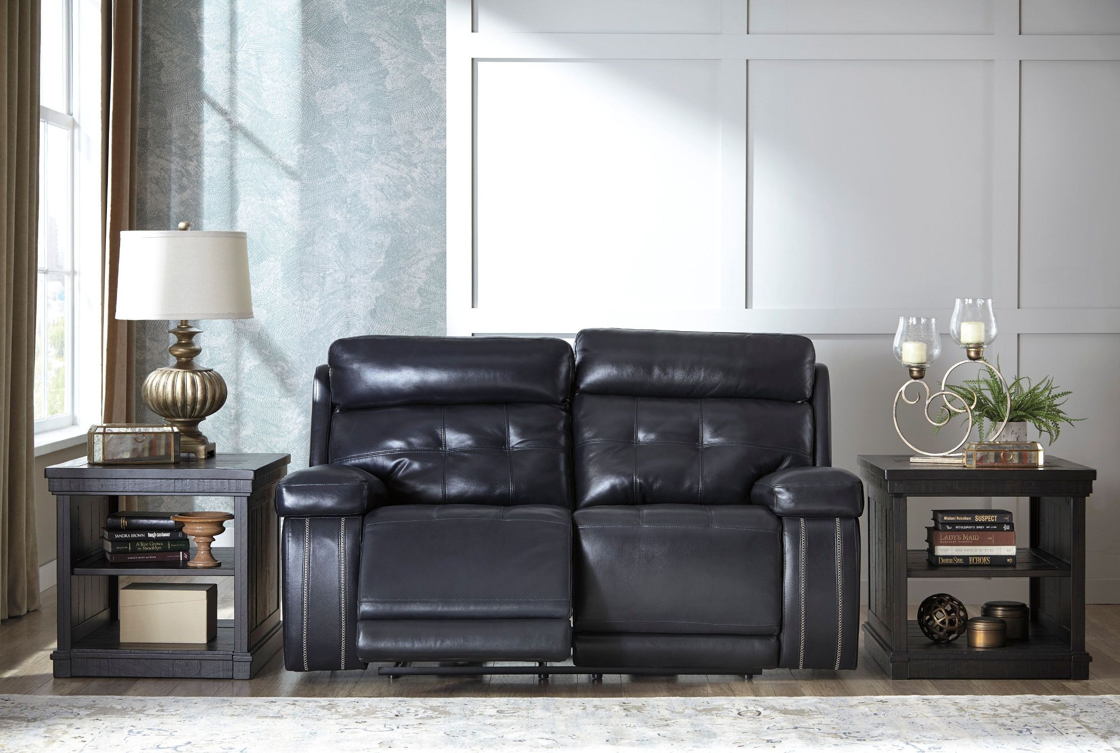 Graford Navy Power Reclining Loveseat With Adjustable