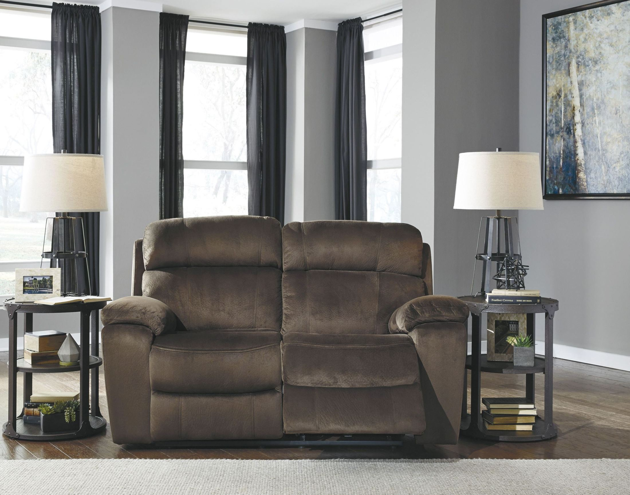 Uhland chocolate power reclining loveseat from ashley for Front room furniture sale