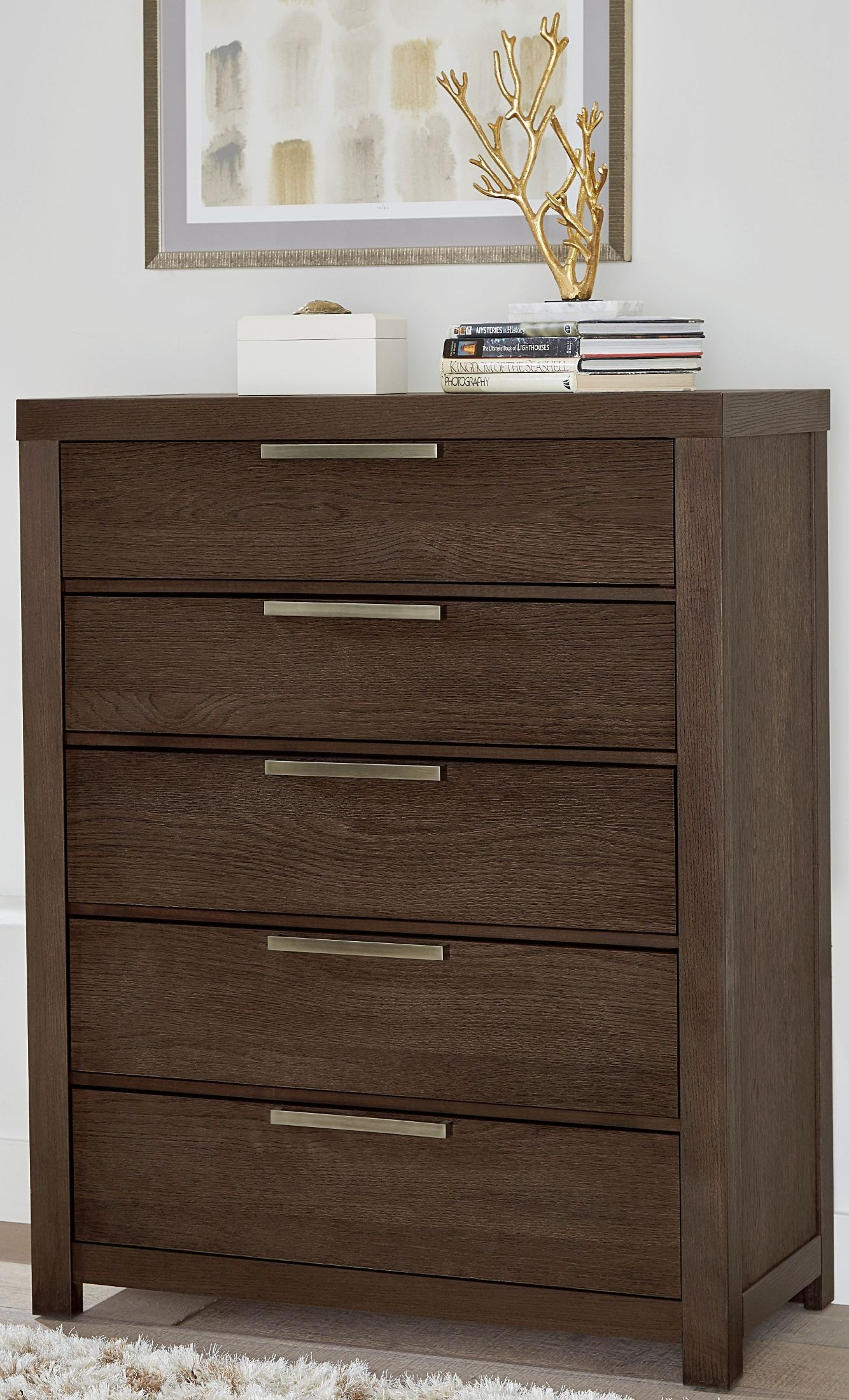 American Modern Mocha 5 Drawer Chest from Virginia House