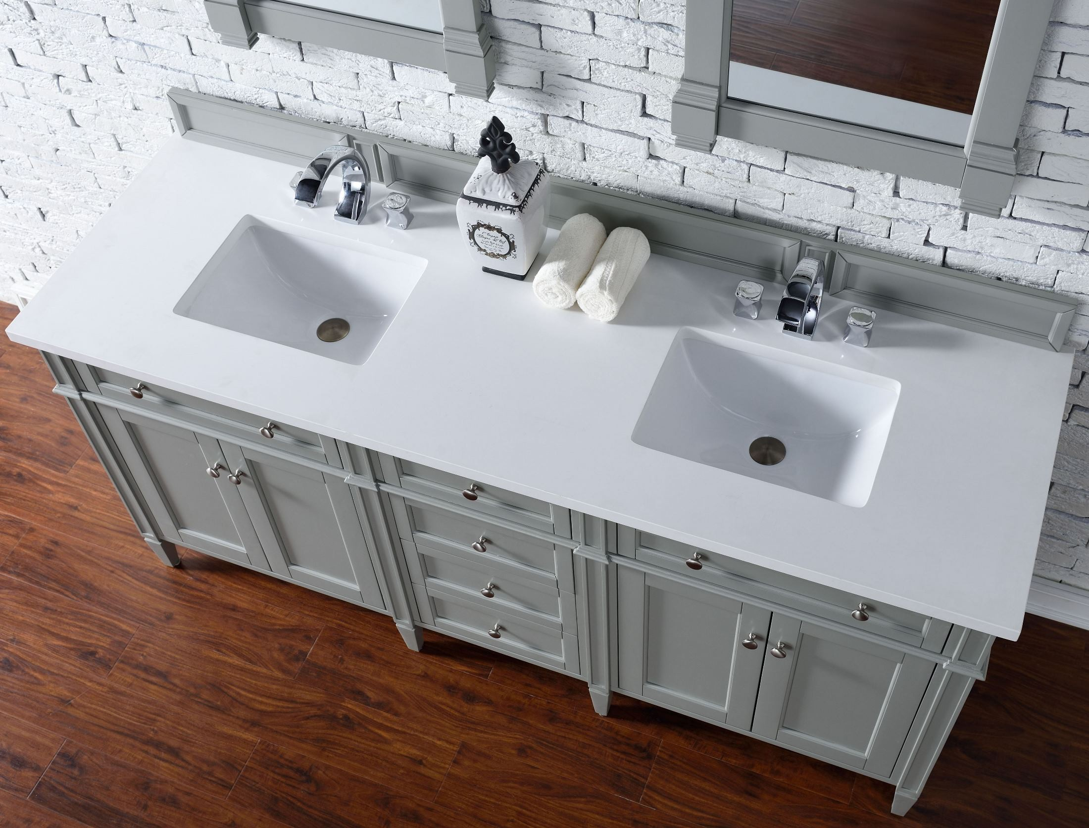 Brittany 72 Quot Urban Gray Double Vanity With 3cm Snow White