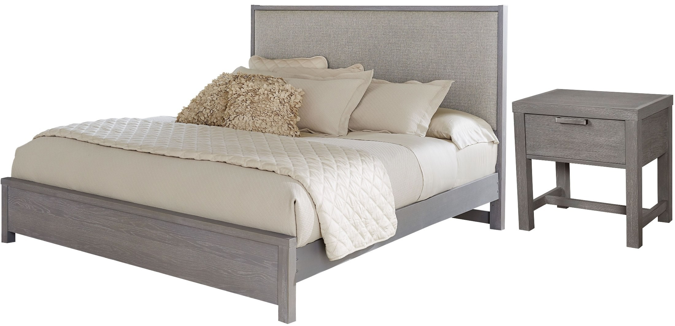 American Modern Grey Upholstered Panel Bedroom Set From