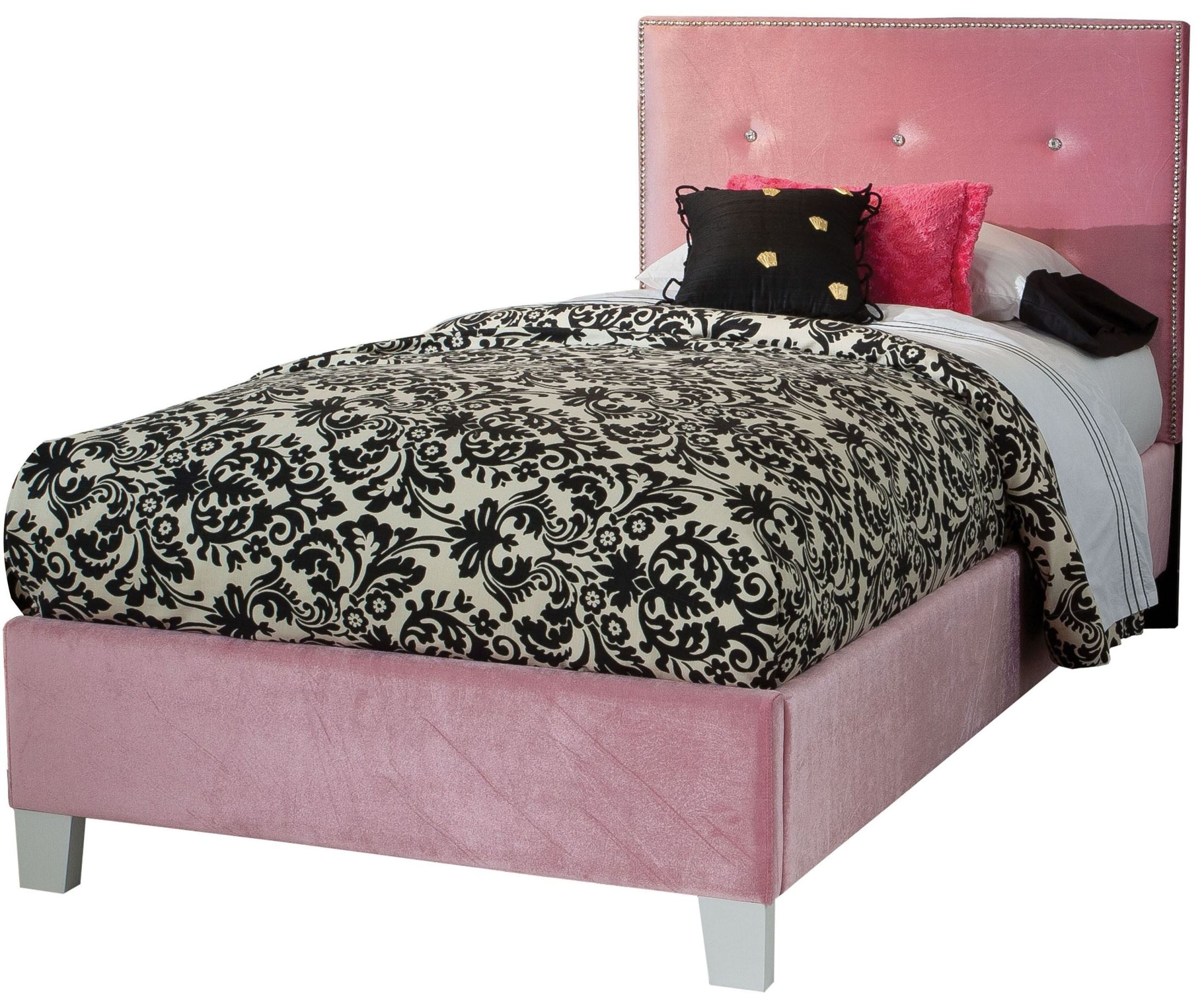 Young Parisian Pink Twin Upholstered Bed from Standard