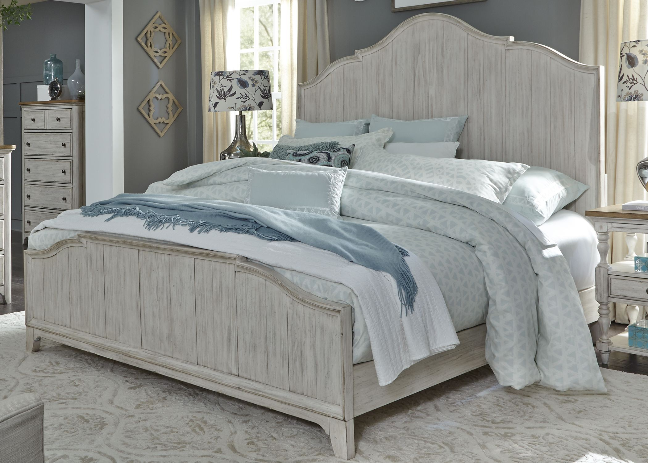 Farmhouse Reimagined Antique White King Panel Bed from ...