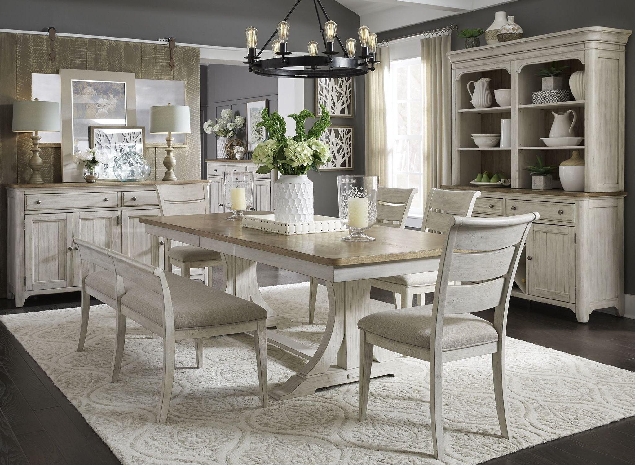 Farmhouse Reimagined Antique White Extendable Trestle Dining Room ...