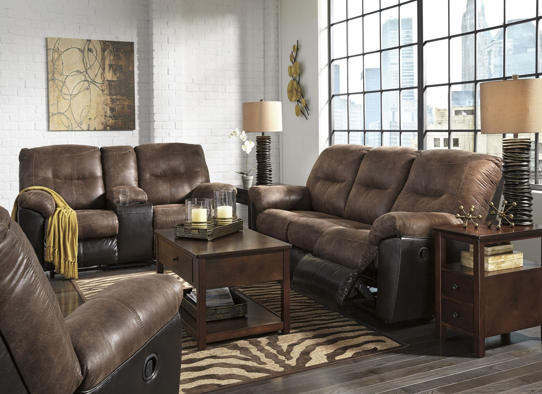Follett Coffee Reclining Living Room Set From Ashley