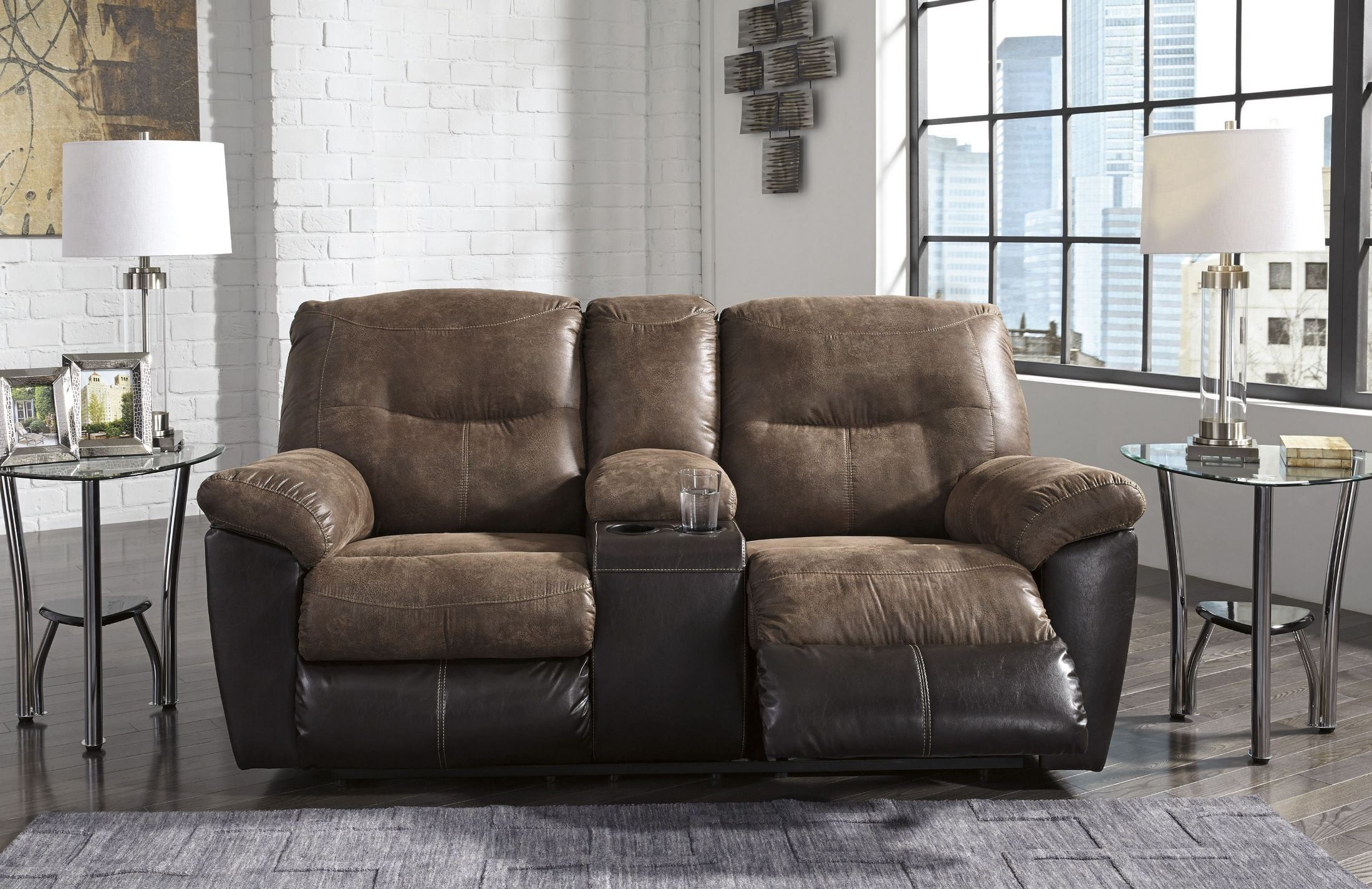 Follett Coffee Double Reclining Console Loveseat From Ashley Coleman Furniture