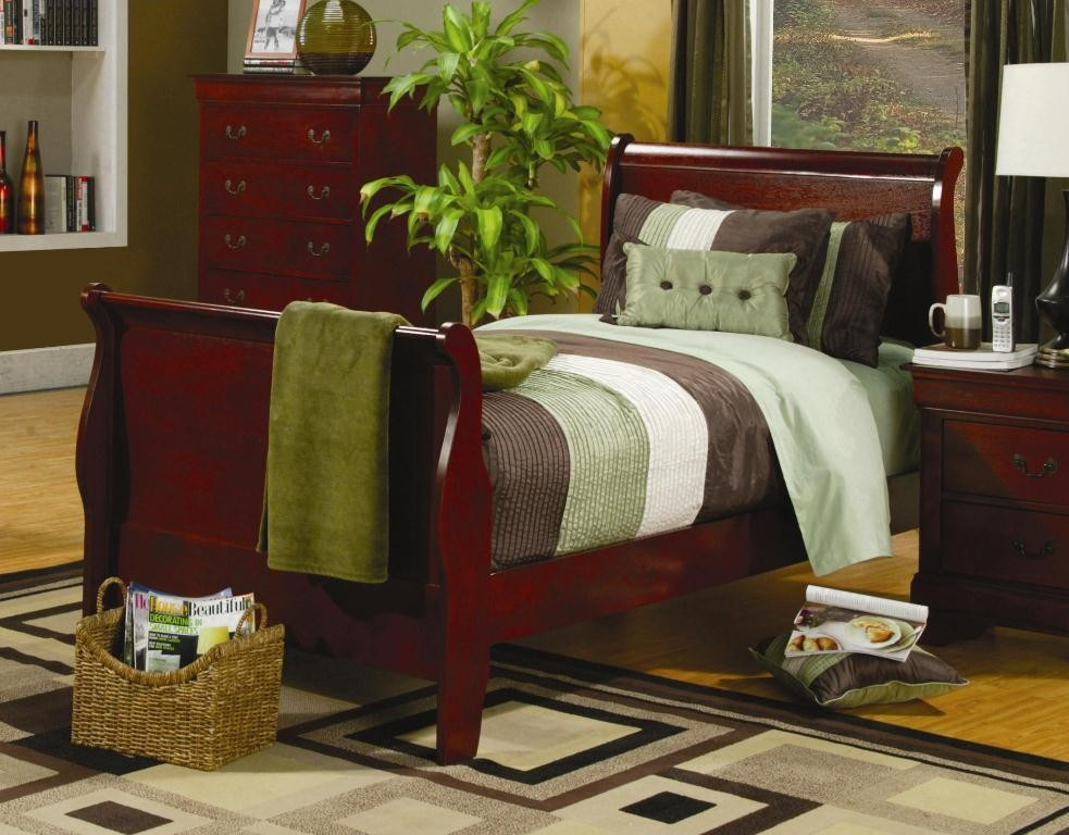 Louis Philippe Cherry Youth Sleigh Bedroom Set From Coaster Coleman Furniture