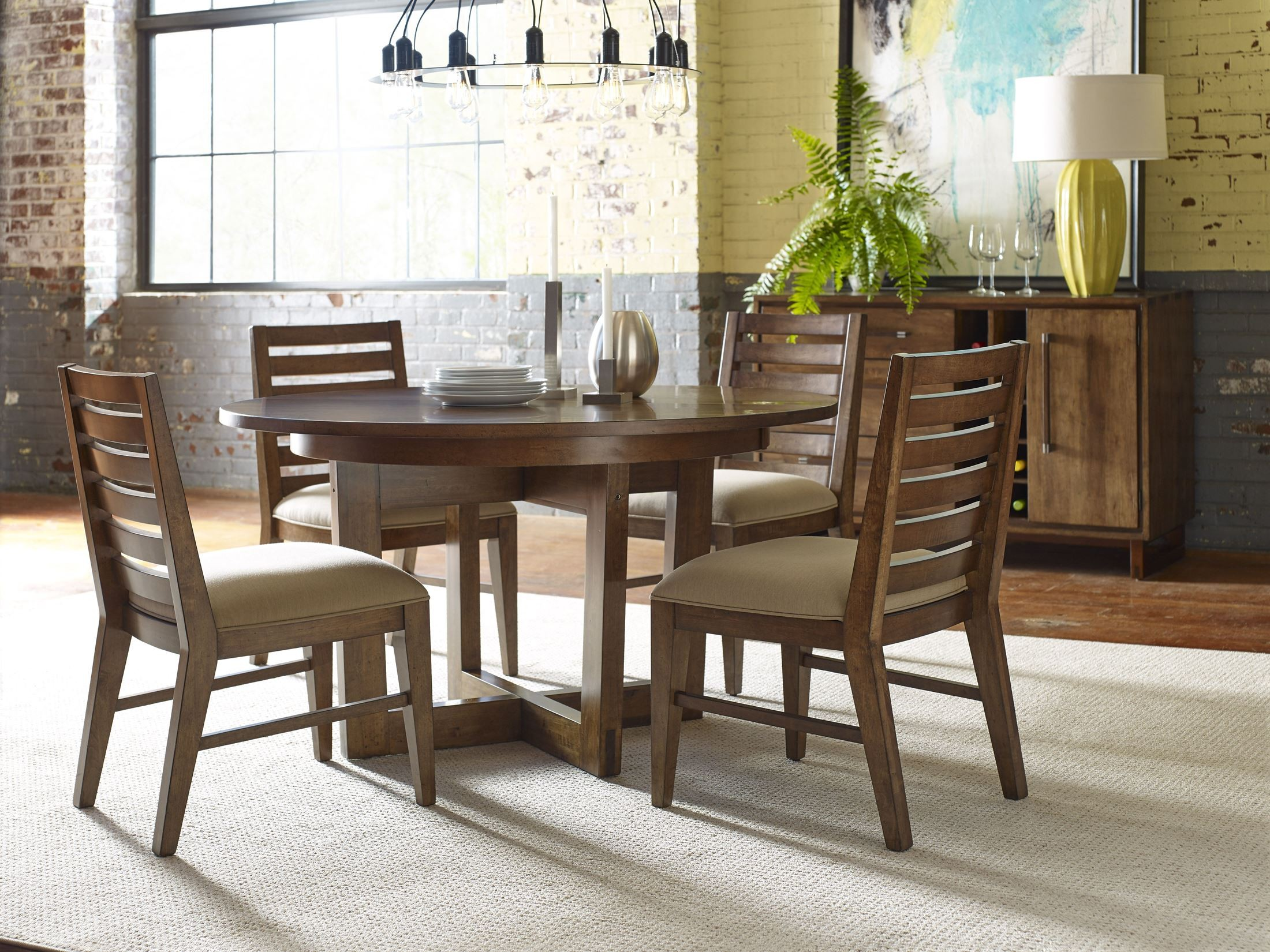 Traverse brown 54 drop leaf round dining room set from for Round dining room sets with leaf