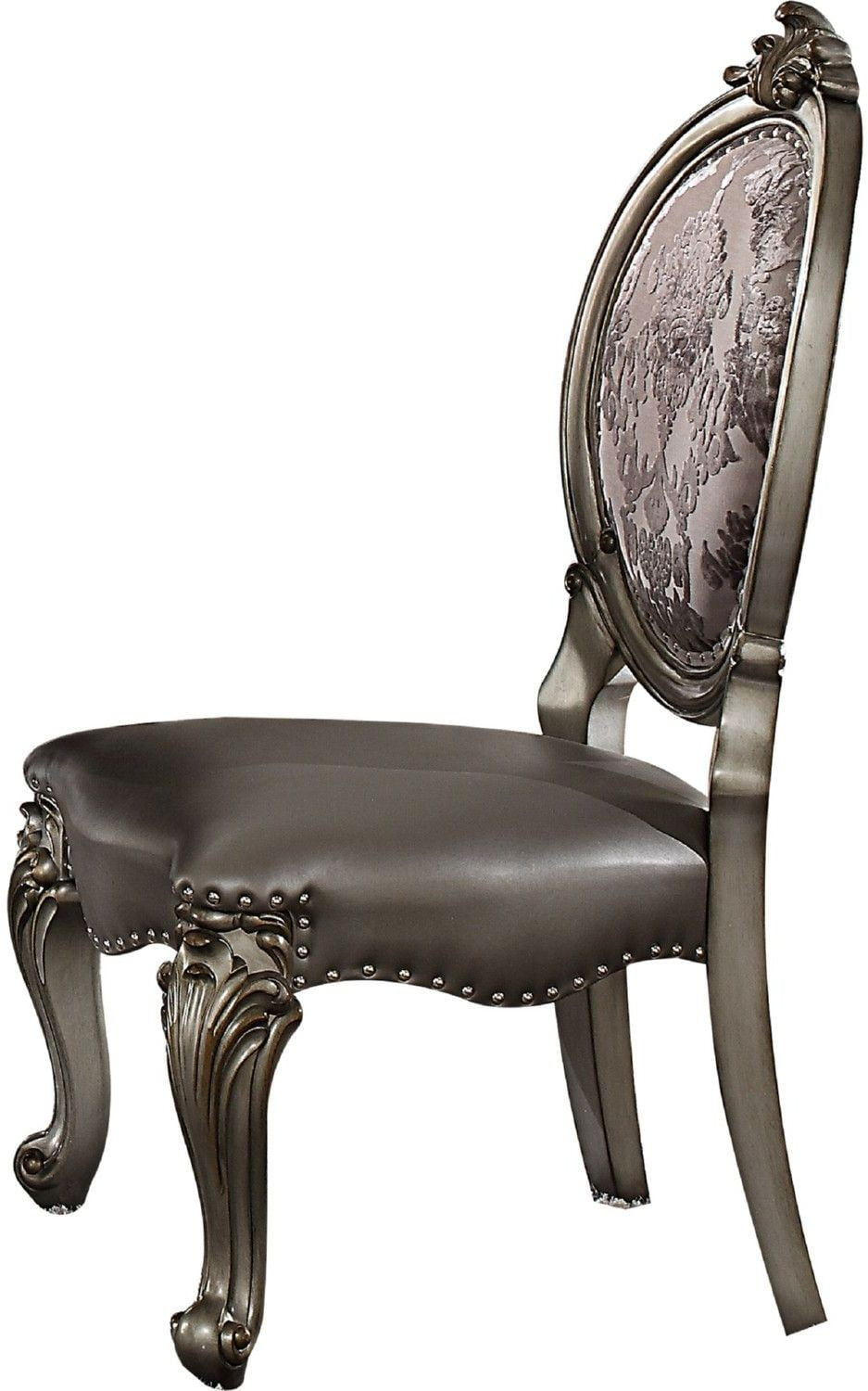 Versailles silver antique platinum side chair set of