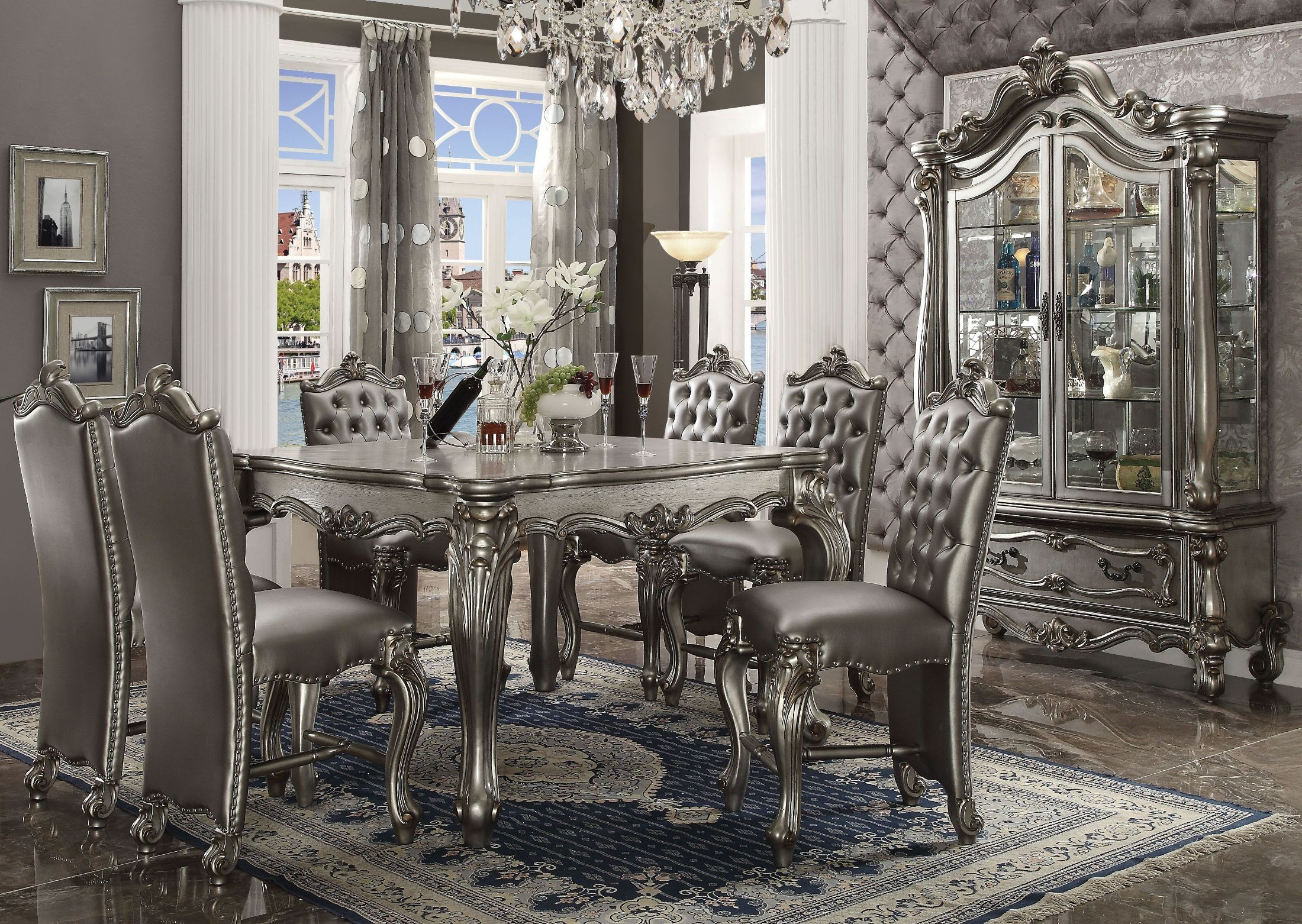 Versailles Antique Platinum Counter Height Dining Room Set From Acme |  Coleman Furniture