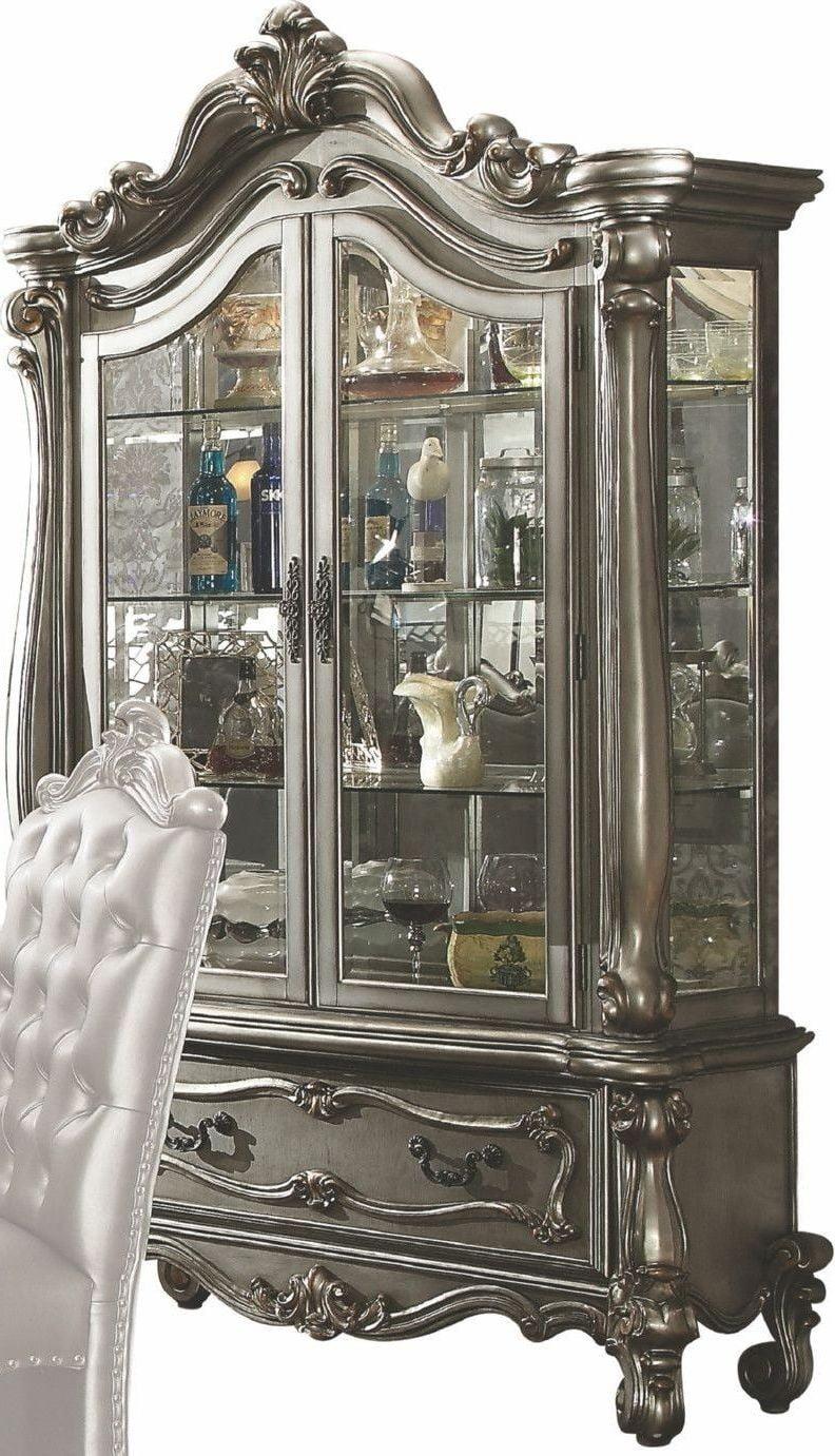 Versailles Antique Platinum Curio Cabinet from Acme | Coleman Furniture