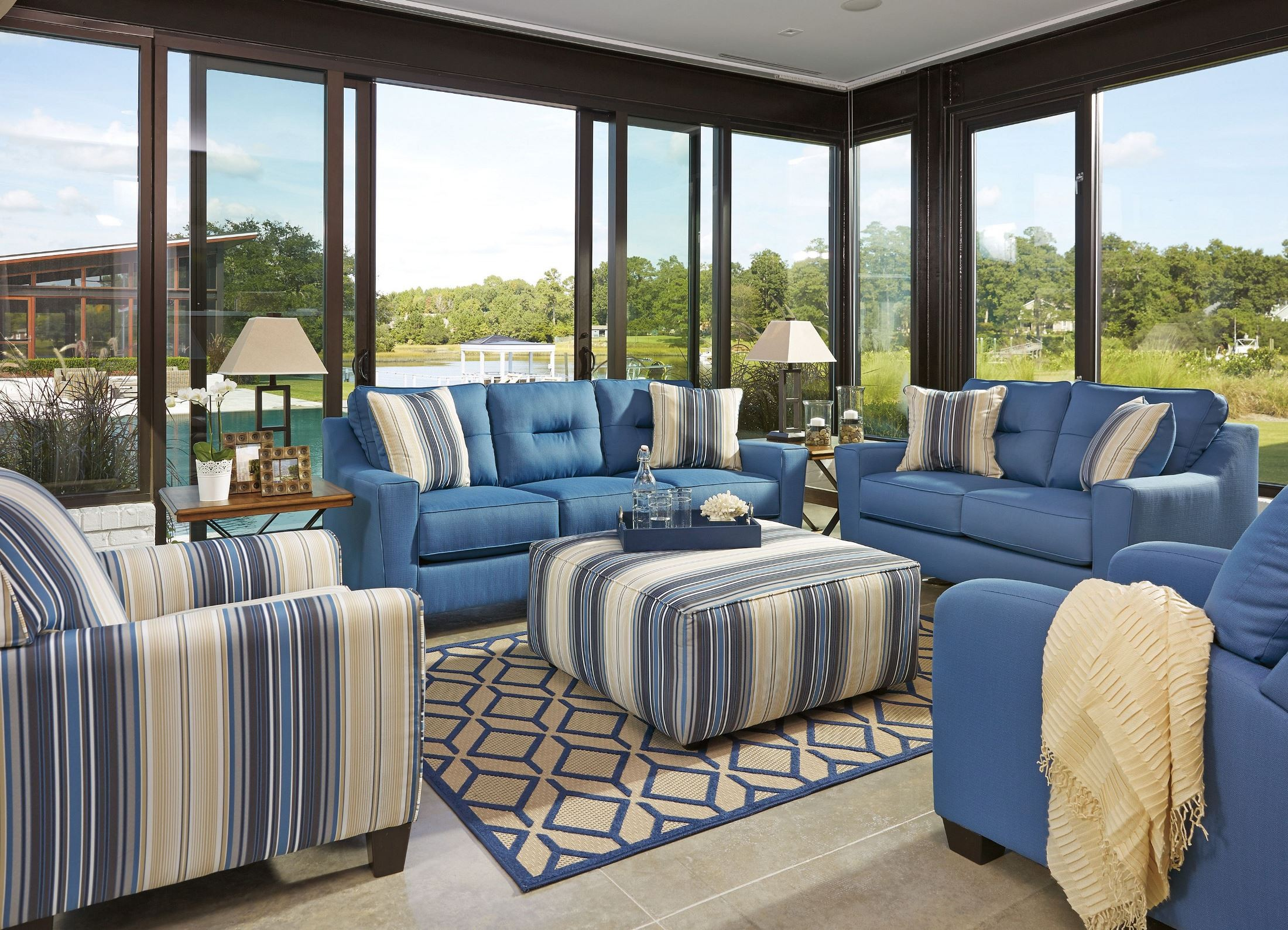 Forsan Nuvella Blue Living Room Set From Ashley