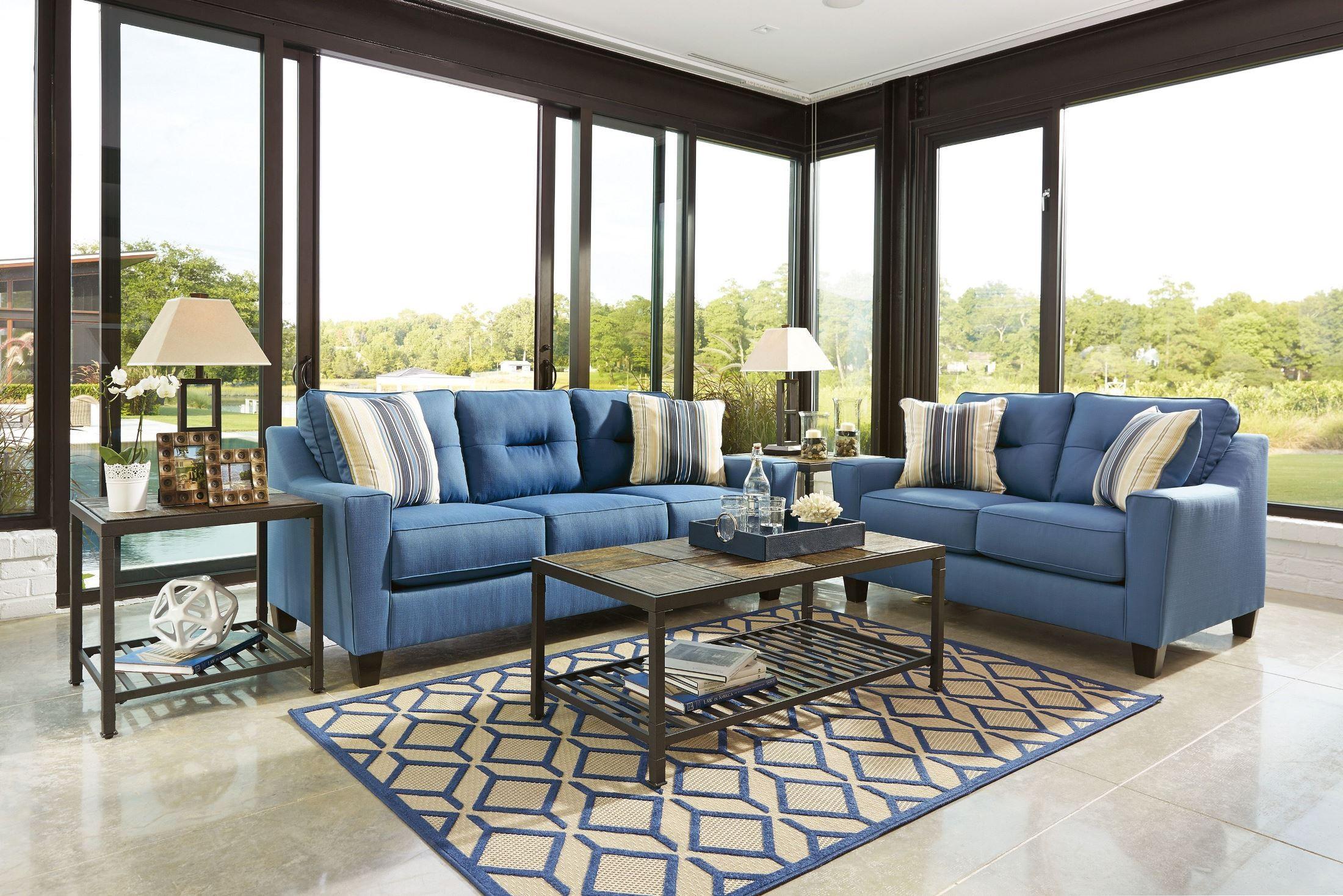 Forsan Nuvella Blue Living Room Set, 6690338, Ashley