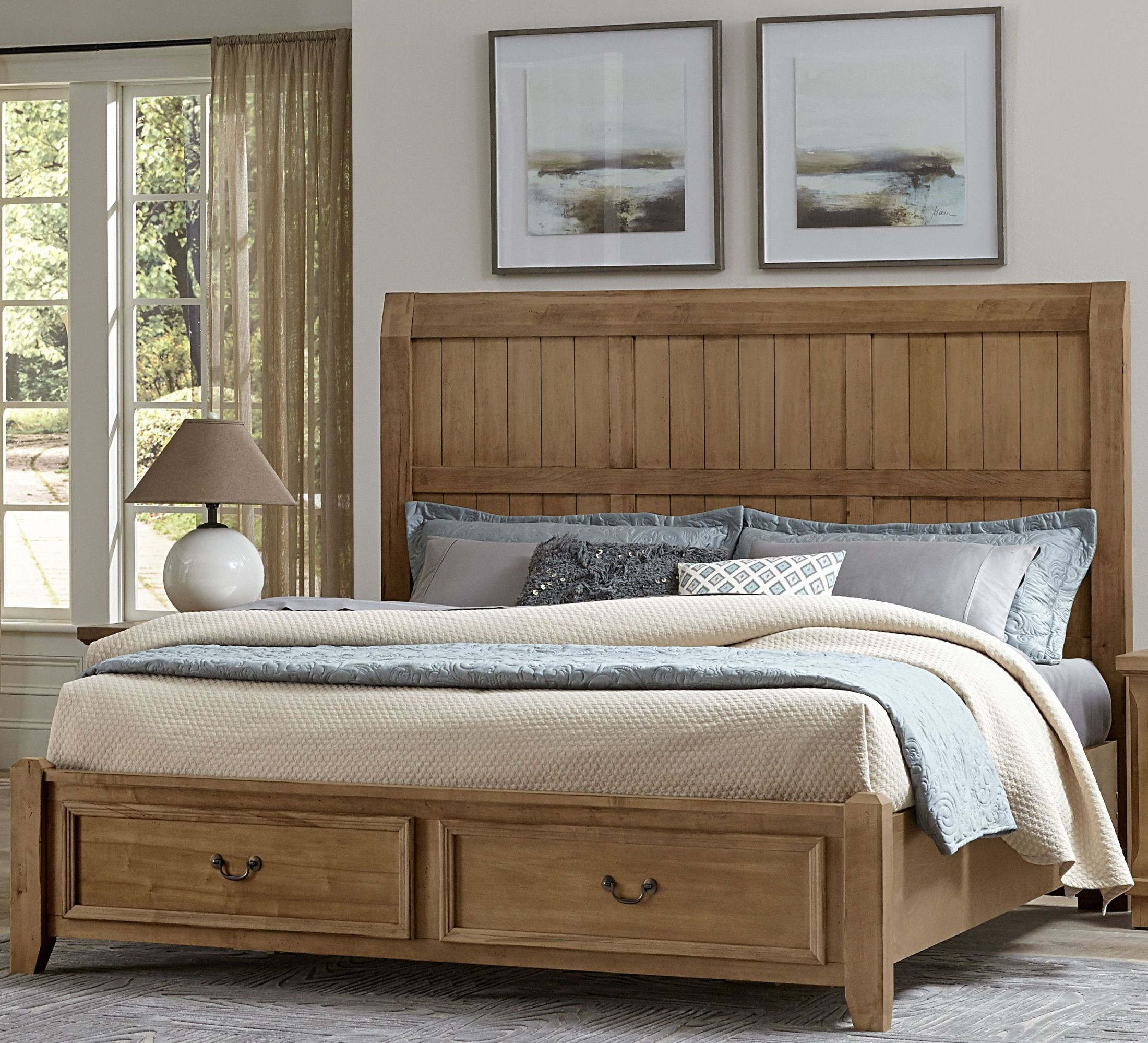 Timber Creek Natural Maple Queen Timber Storage Panel Bed From Vaughan Bassett Coleman Furniture