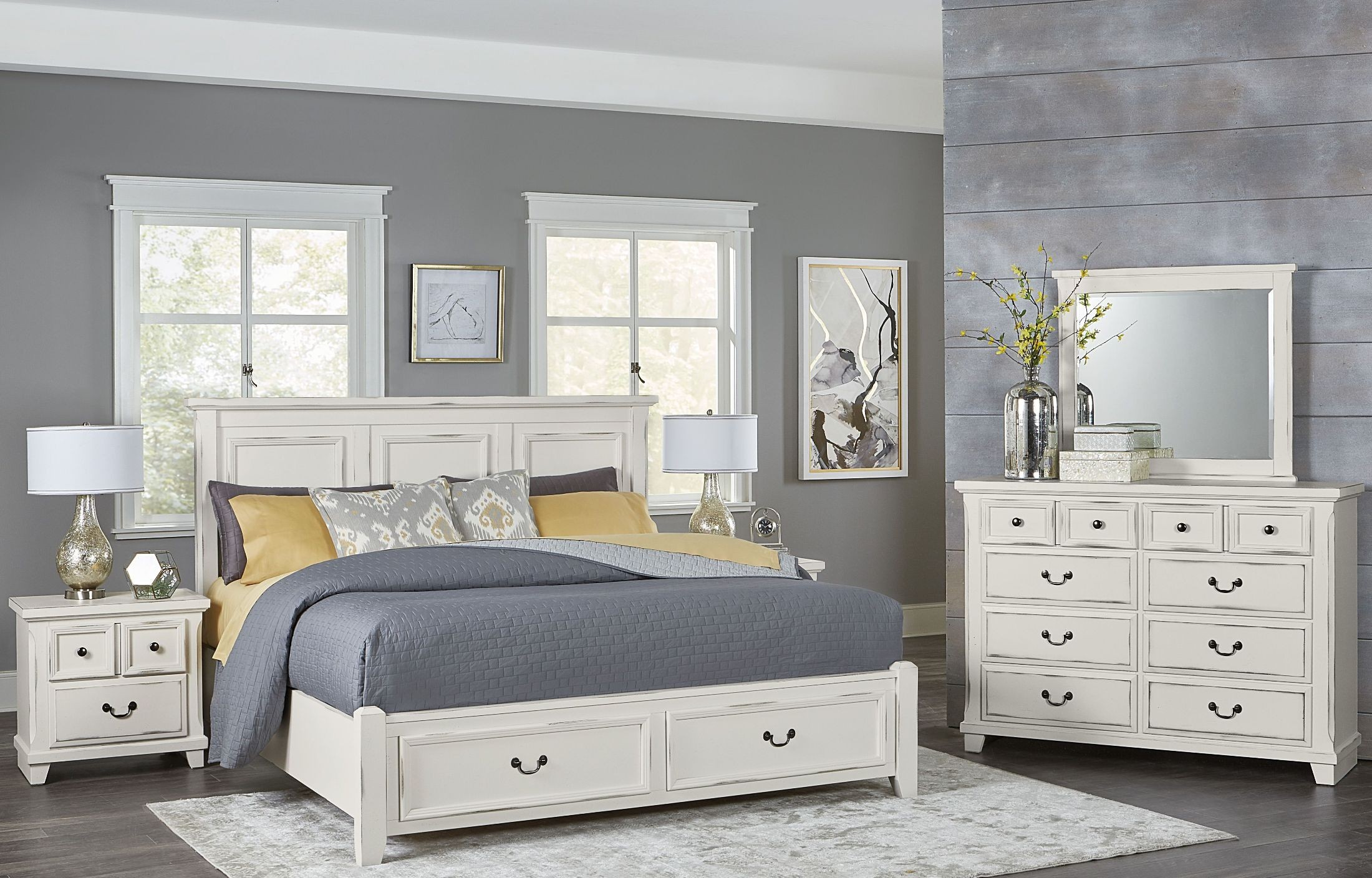 Timber Creek Distressed White Mansion Storage Bedroom Set From Vaughan Bassett Coleman Furniture
