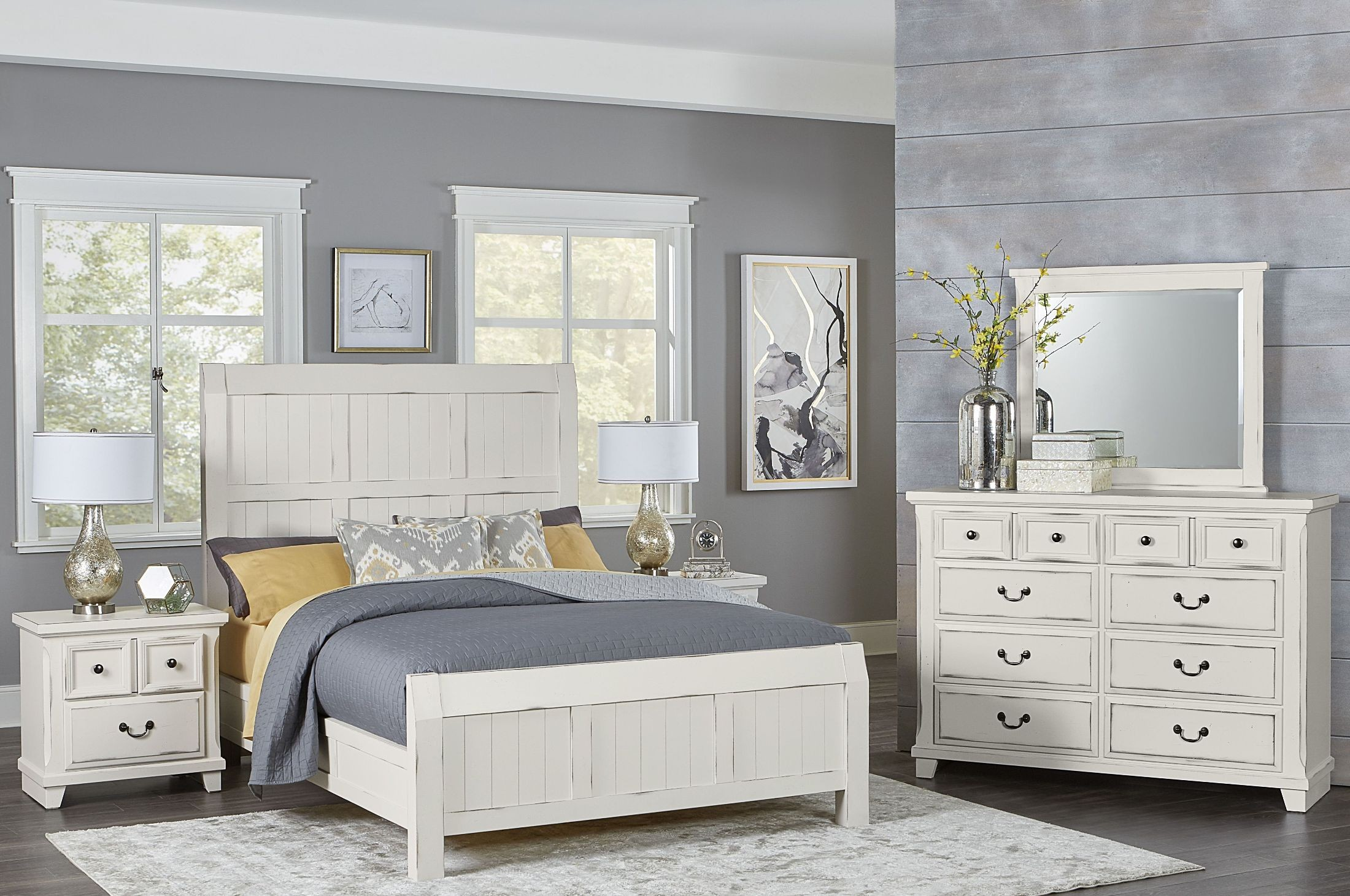 Timber Creek Distressed White Timber Panel Bedroom Set