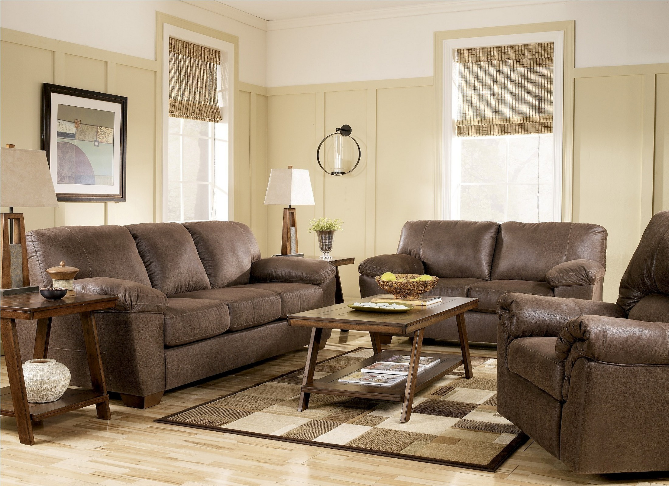 Amazon Walnut Living Room Set From Ashley 67505 Coleman Furniture