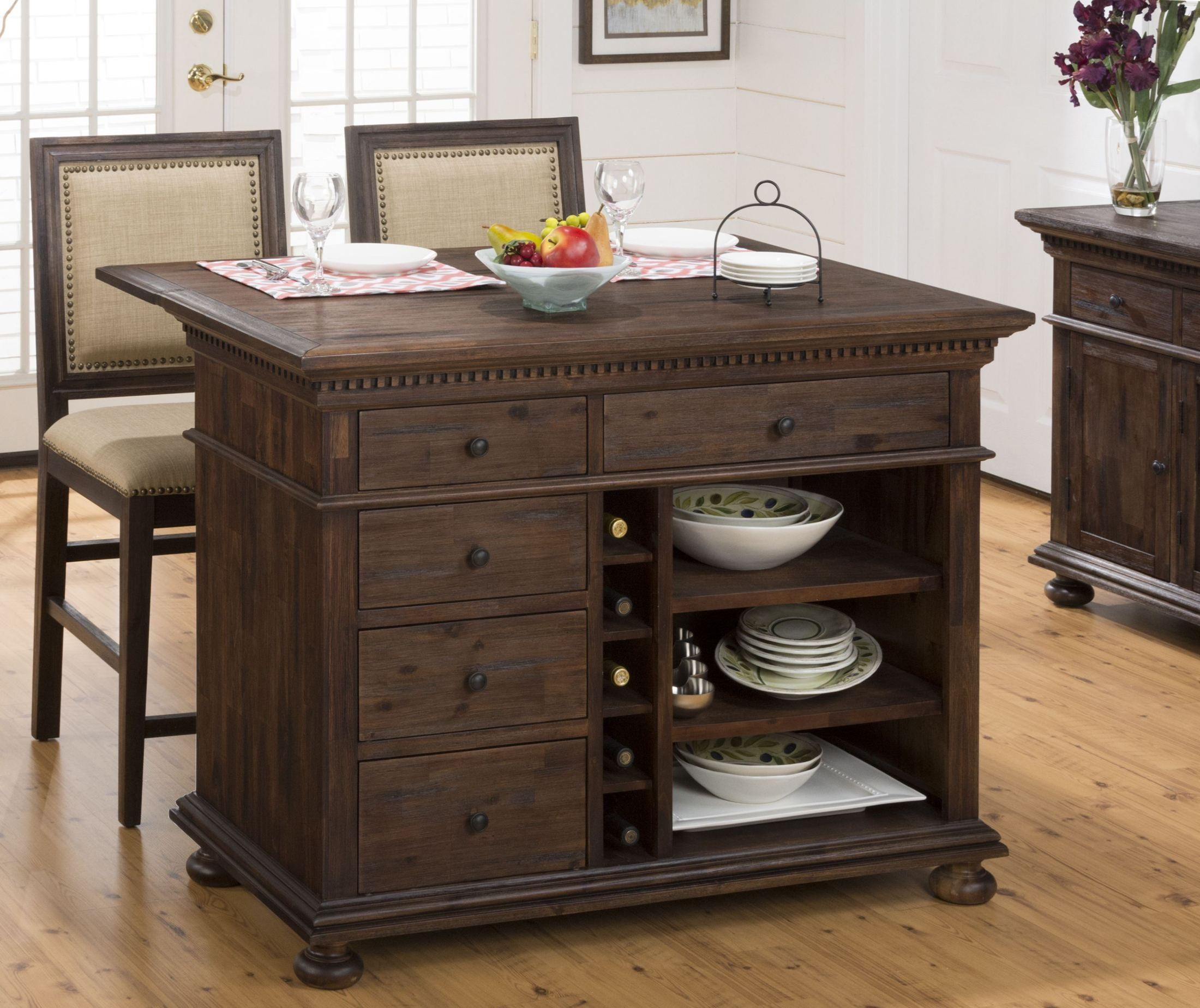 Kitchen Island Furniture: Geneva Hills Rustic Brown Extendable Kitchen Island Set